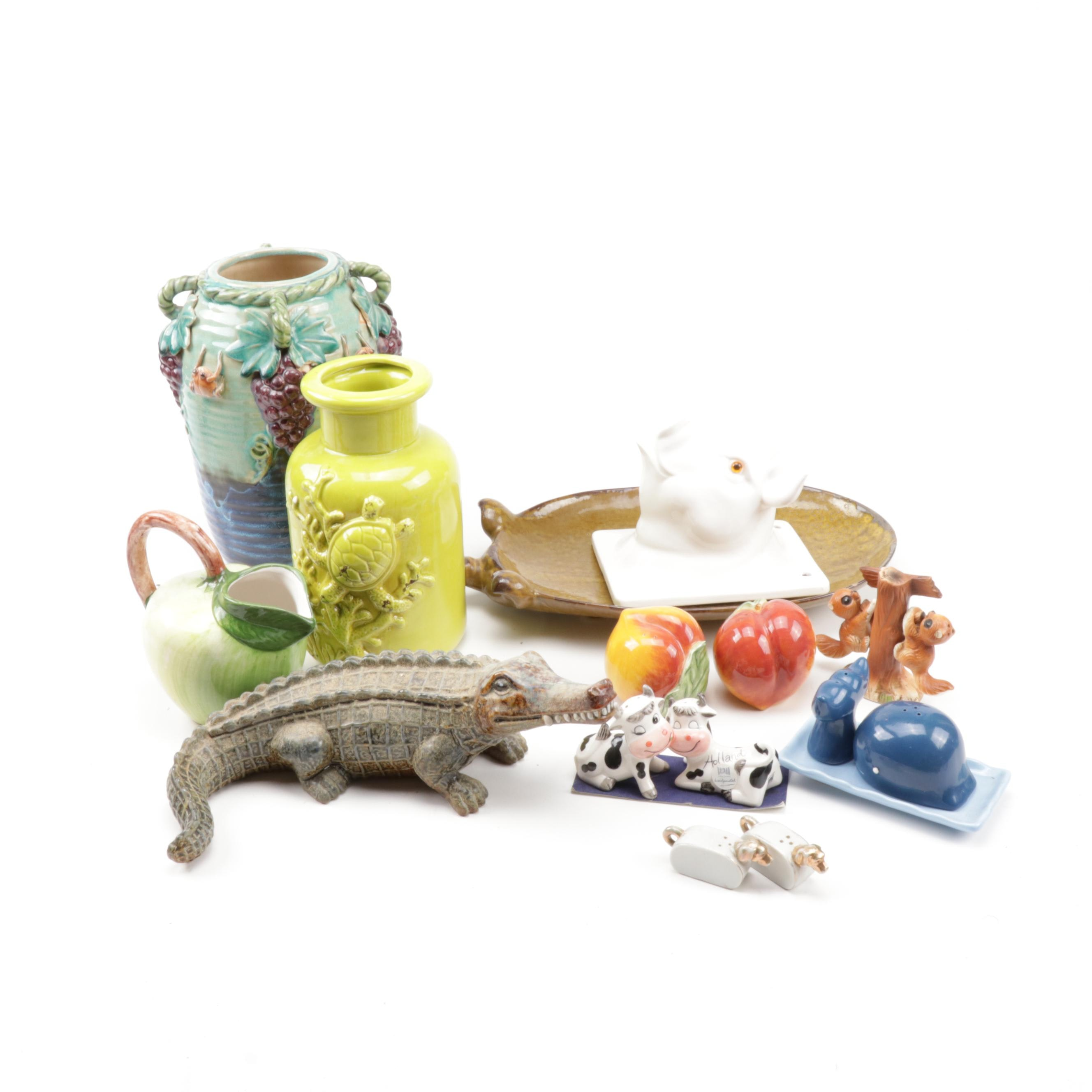 Figural Ceramic Vases, Salt and Pepper Shakers, and More,