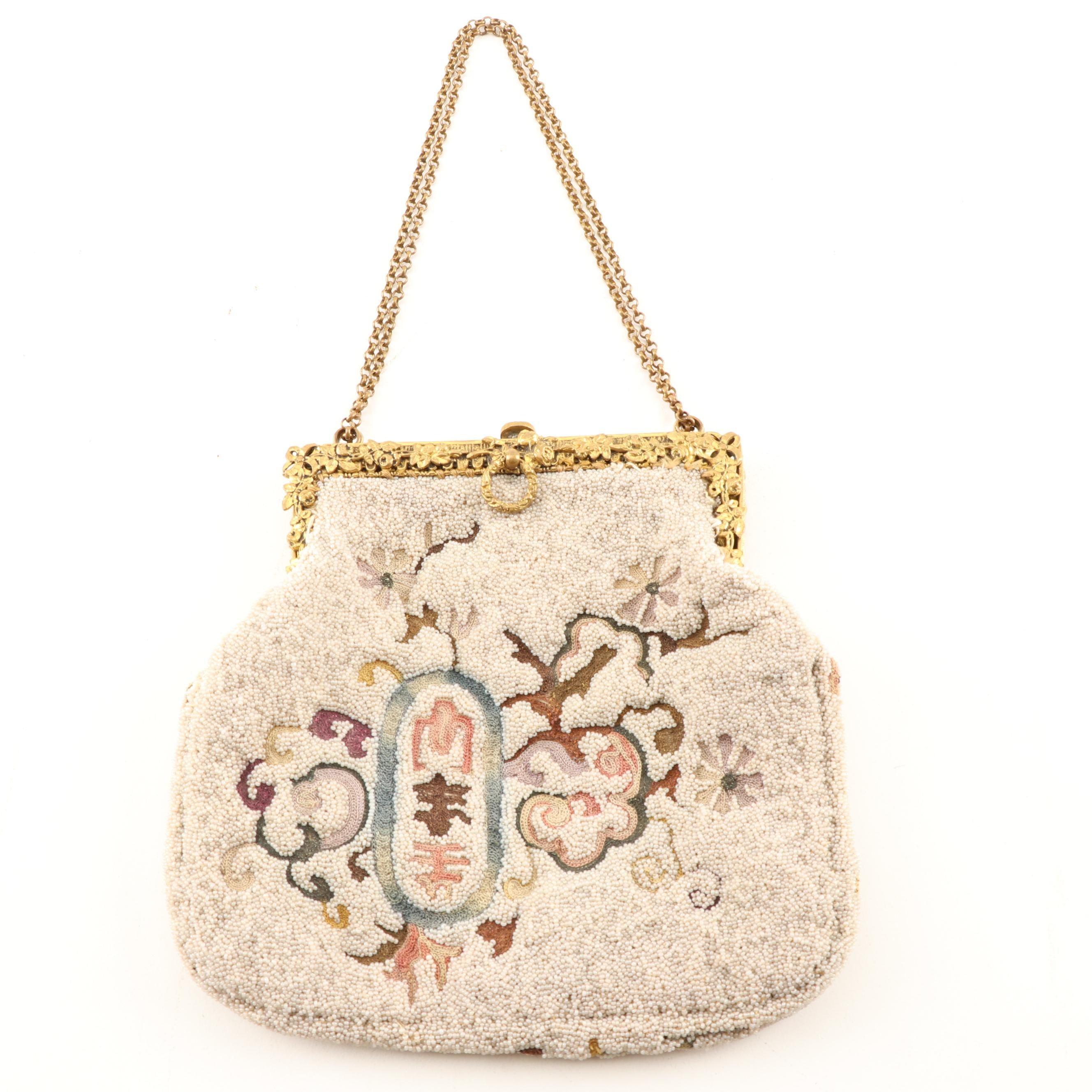Beaded and Embroidered Purse, Circa 1930