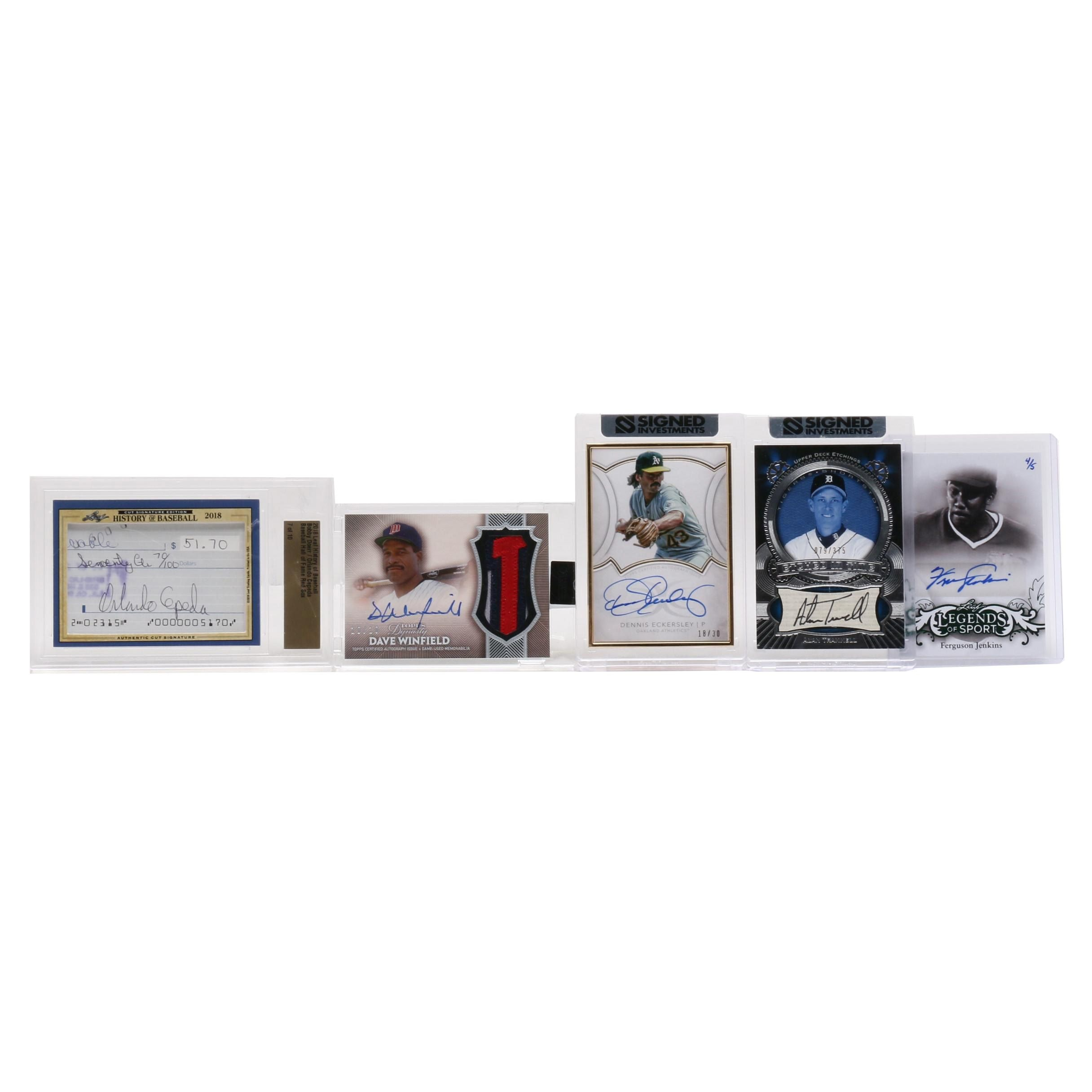 Certified Autographed Baseball Cards with Dave Winfield