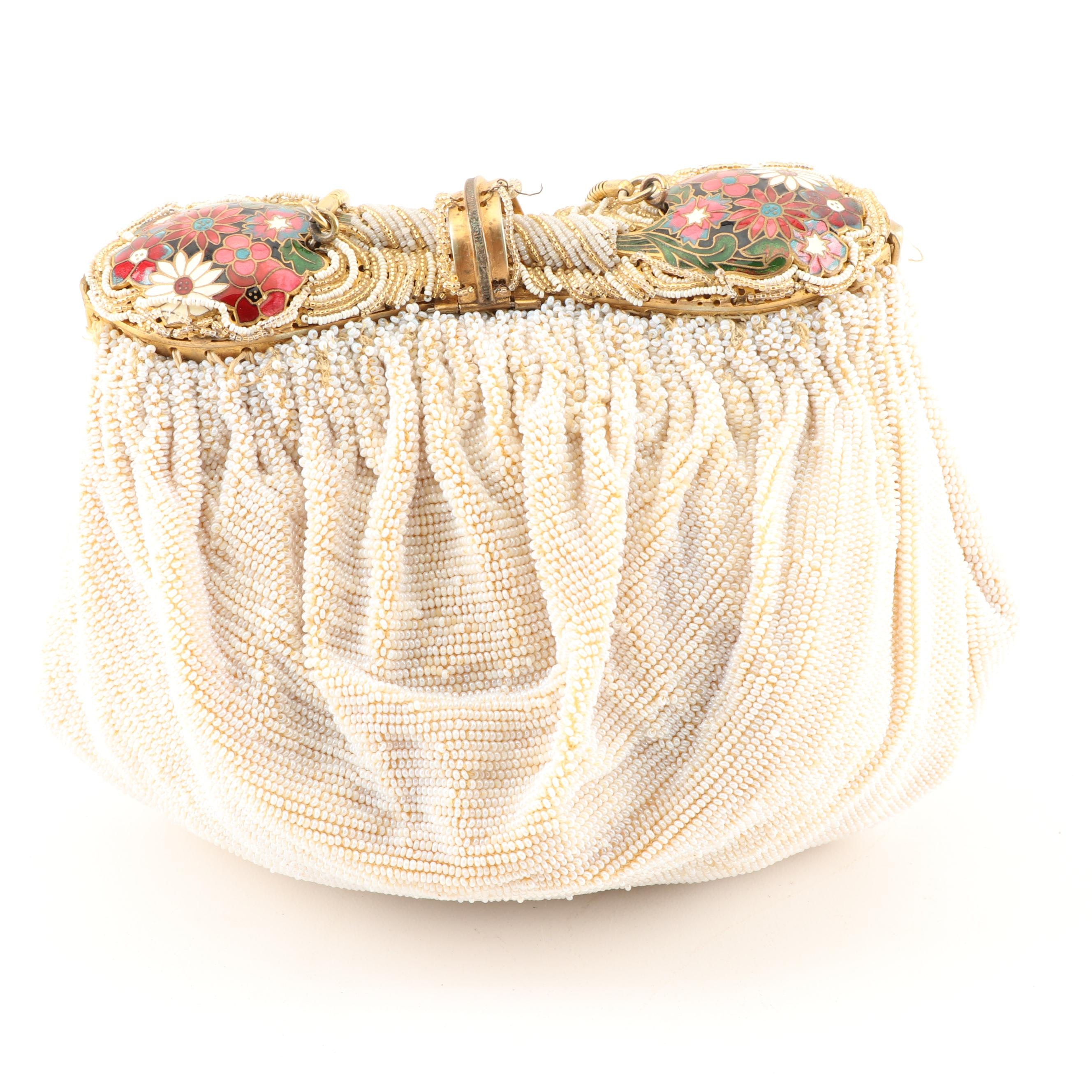 Delill Bead and Enameled Purse with Chain Strap and Coin Purse, Mid-20th Century