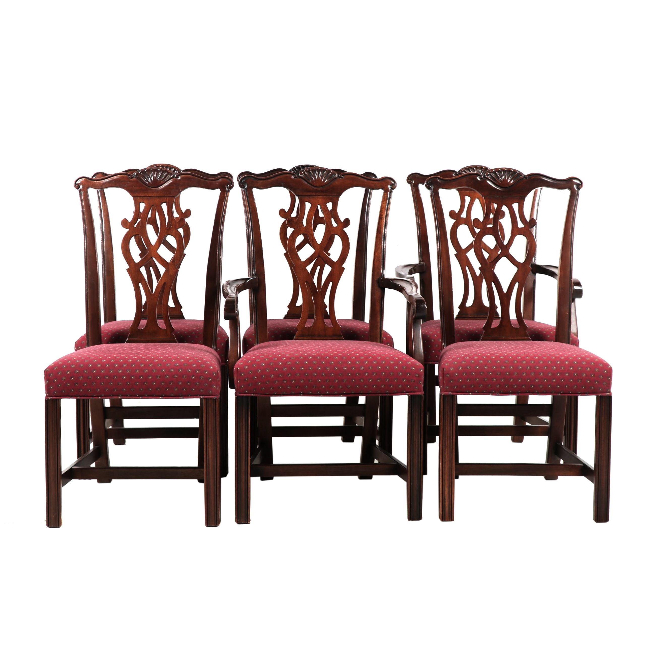 Six Chippendale Style Dining Chairs, Late 20th Century