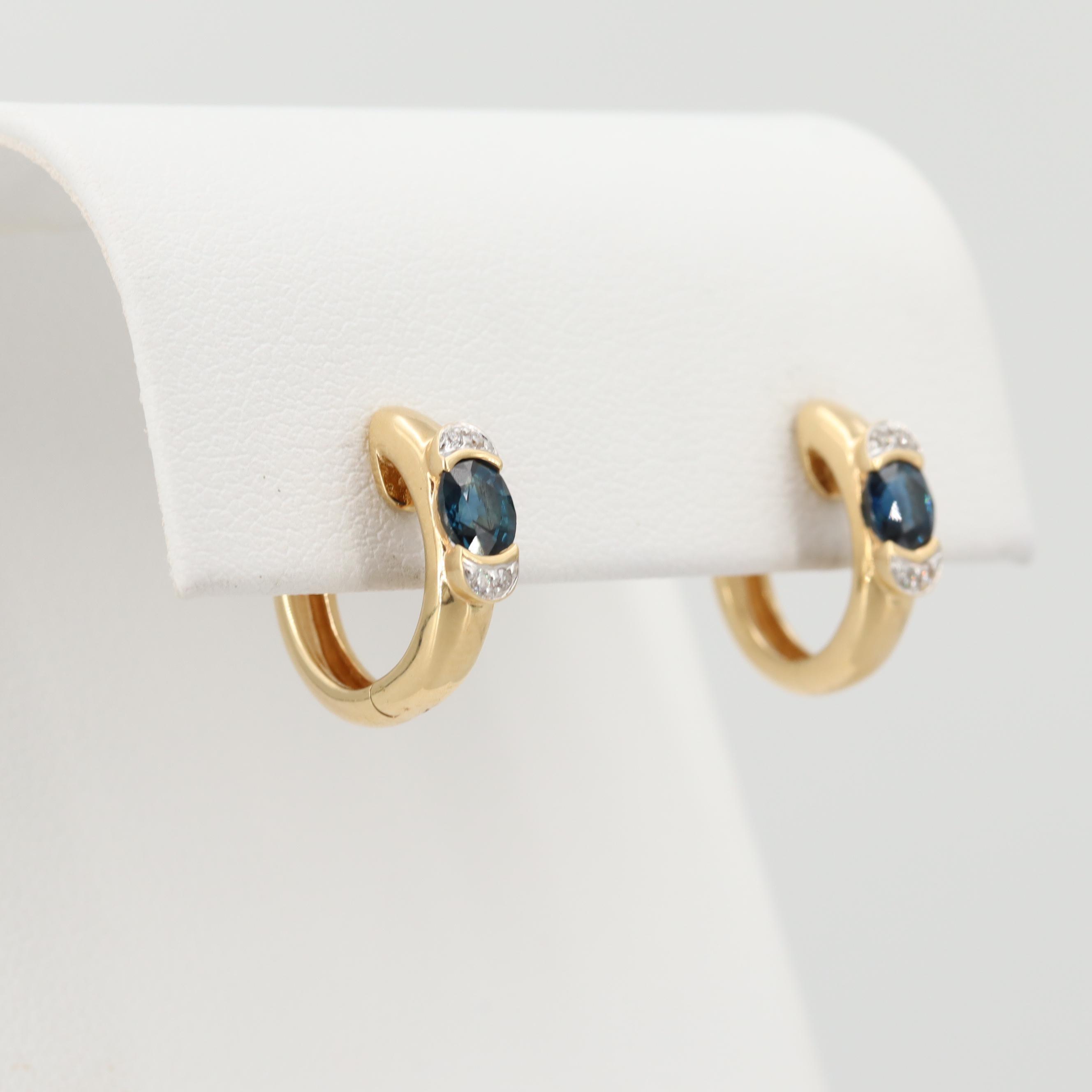 18K Yellow Blue Sapphire and Diamond Huggie Earrings