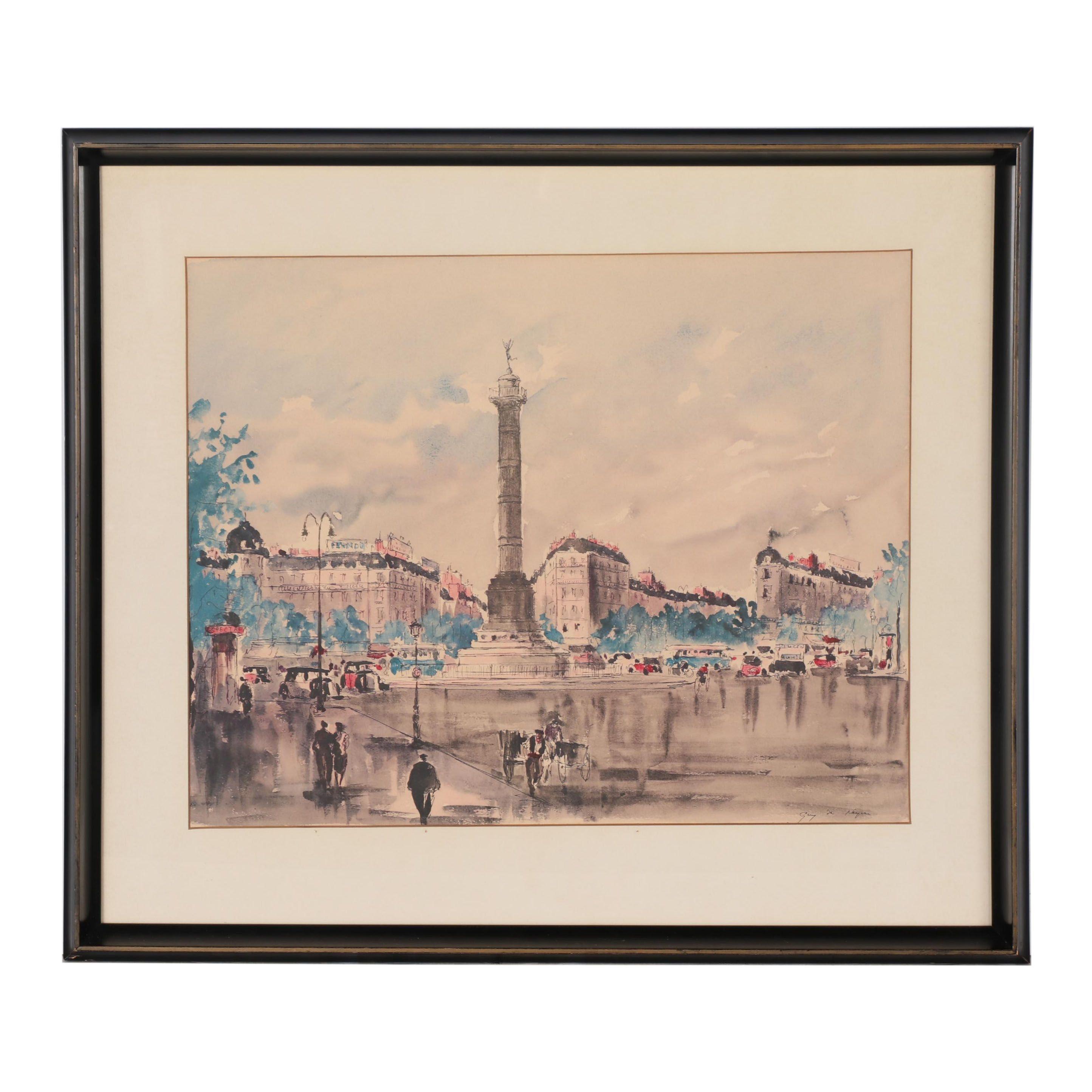 """Color Lithograph after Guy de Neyrac """"Place de la Bastille"""""""