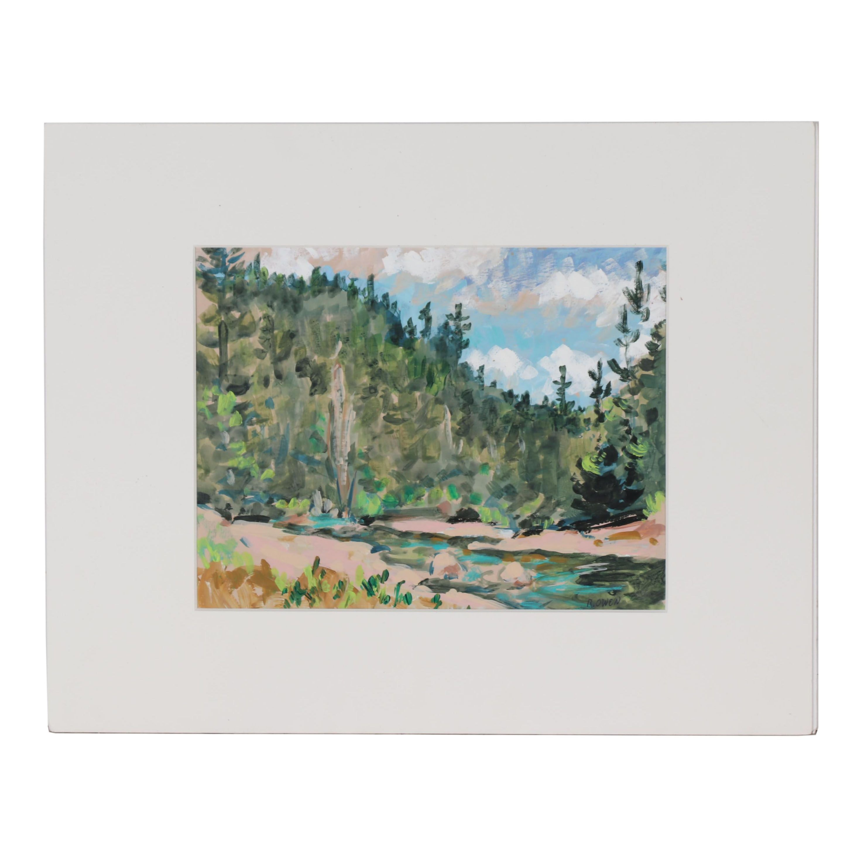 R. Owen Forest Landscape Acrylic Painting