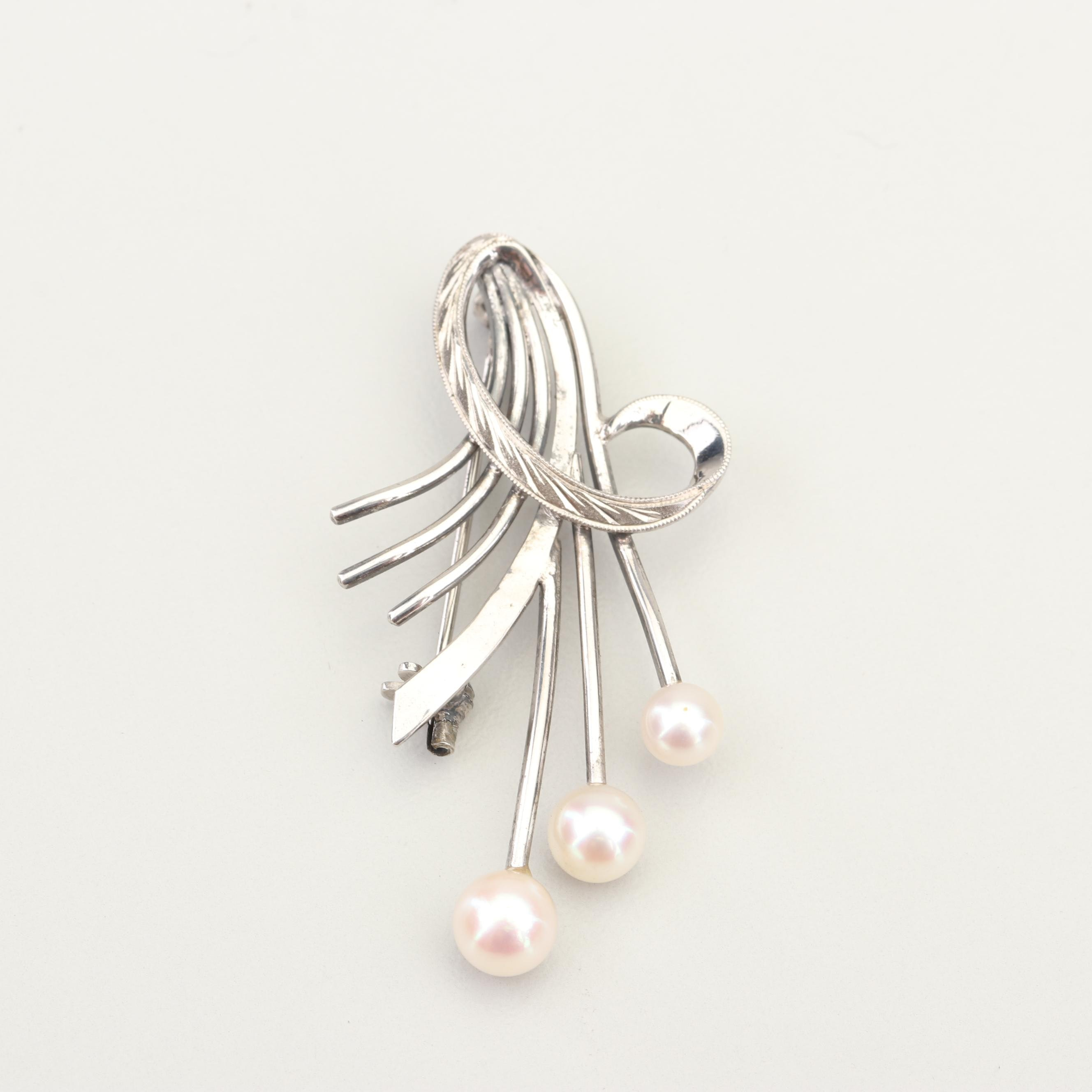 Mikimoto Sterling Silver Cultured Freshwater Pearl Brooch