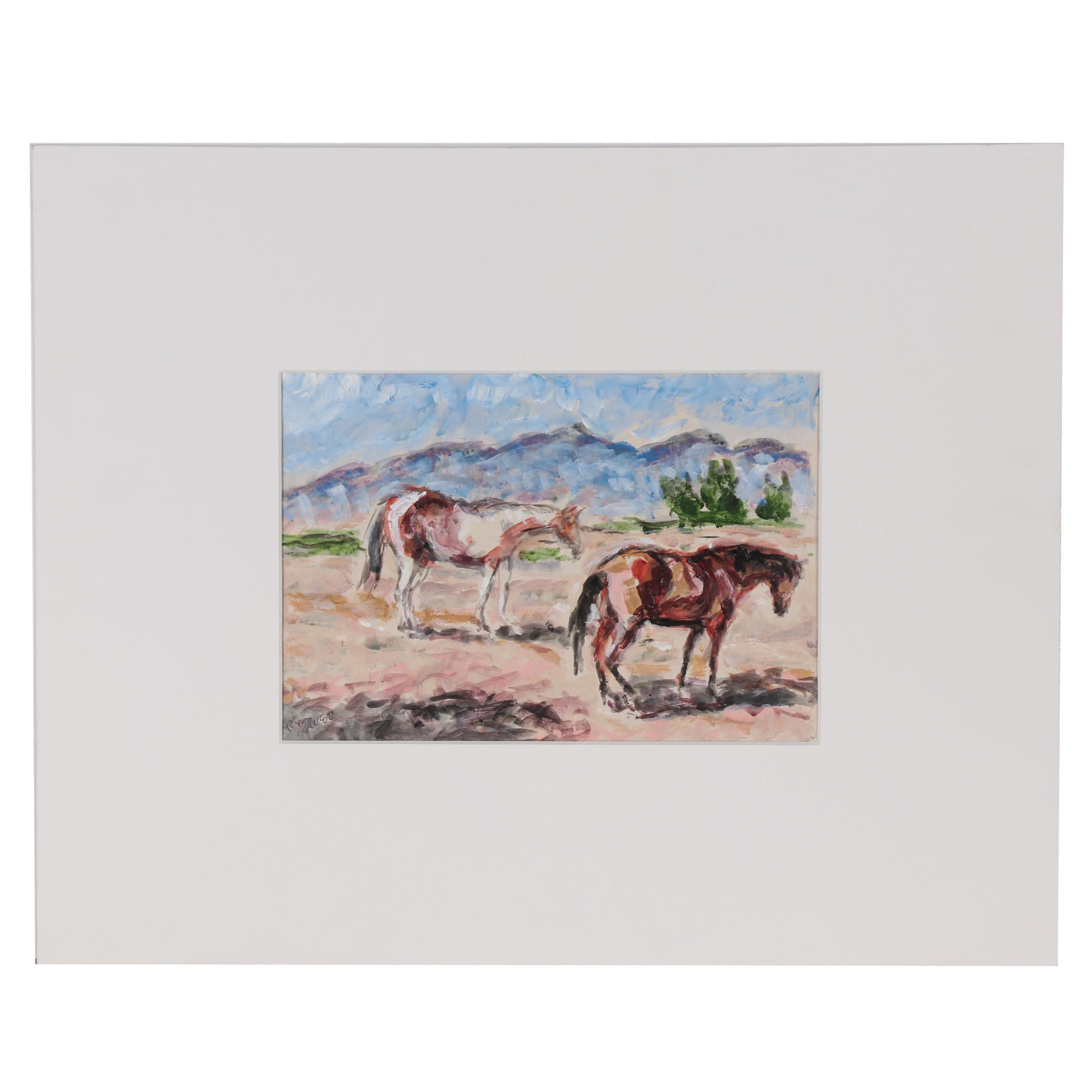 R. Owen Acrylic Painting of Horses