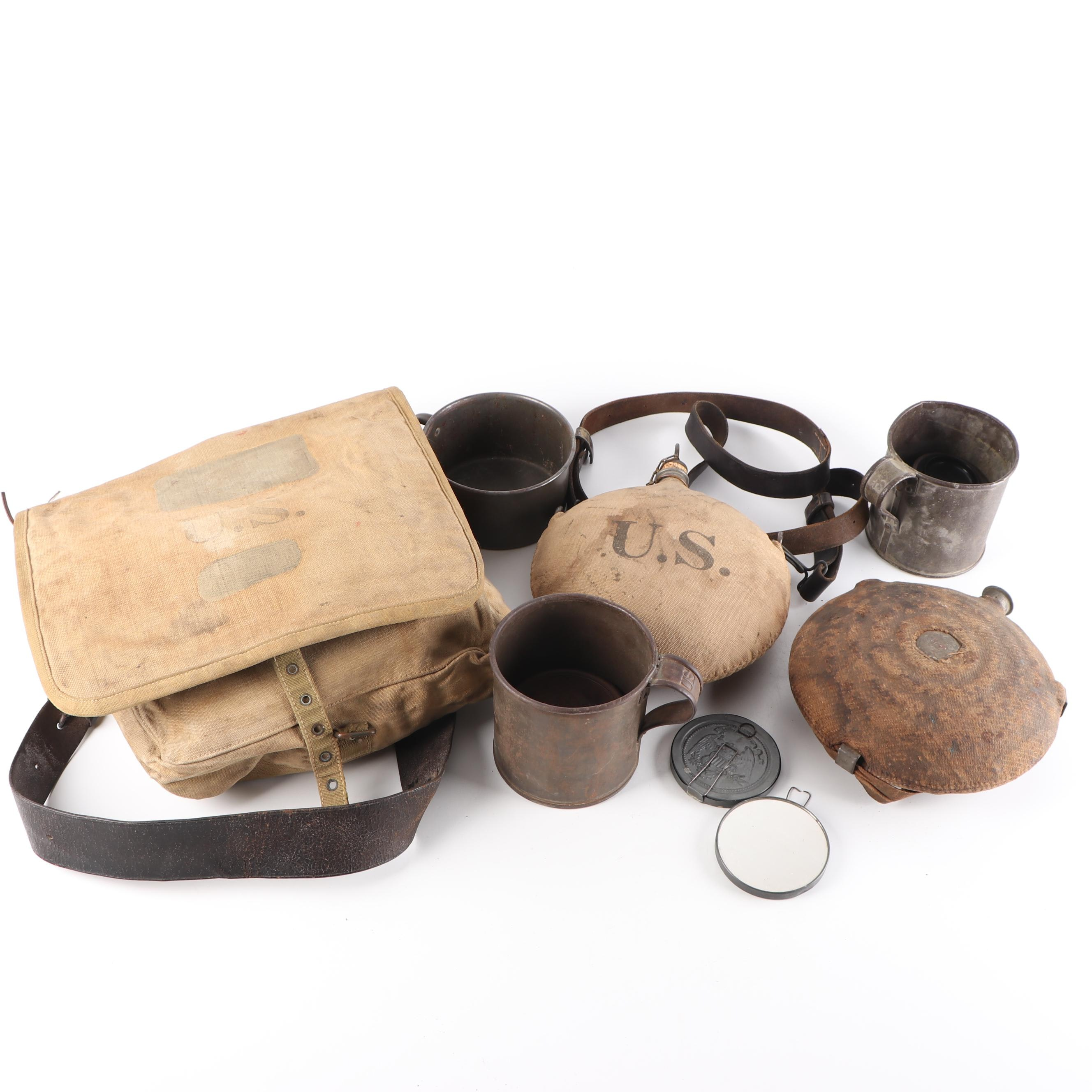 U.S. Army Field Mess Equipment with Canteens, Late 19th to Early 20th Century