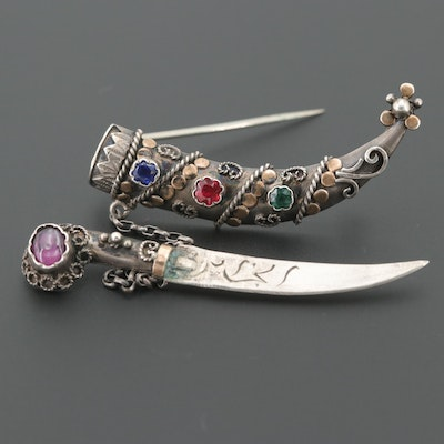 Late 1920s 800 Silver Rhodolite Garnet and Glass Doublet Letter Opener Brooch