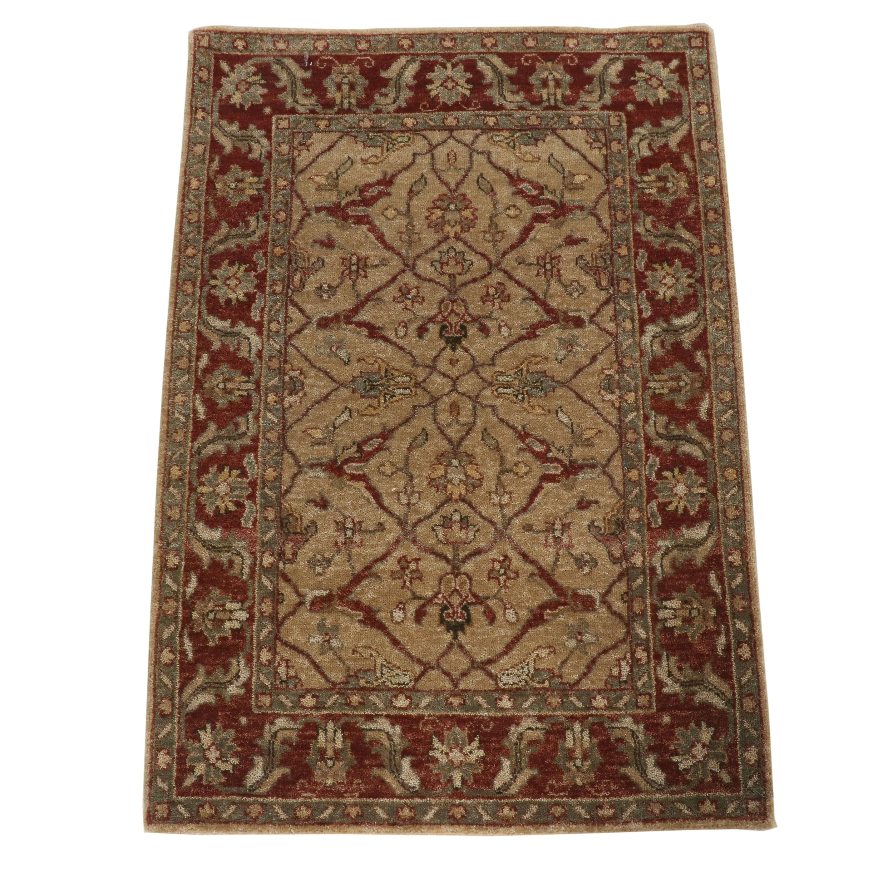 Hand-Knotted Indian Peshawar Style Wool Rug