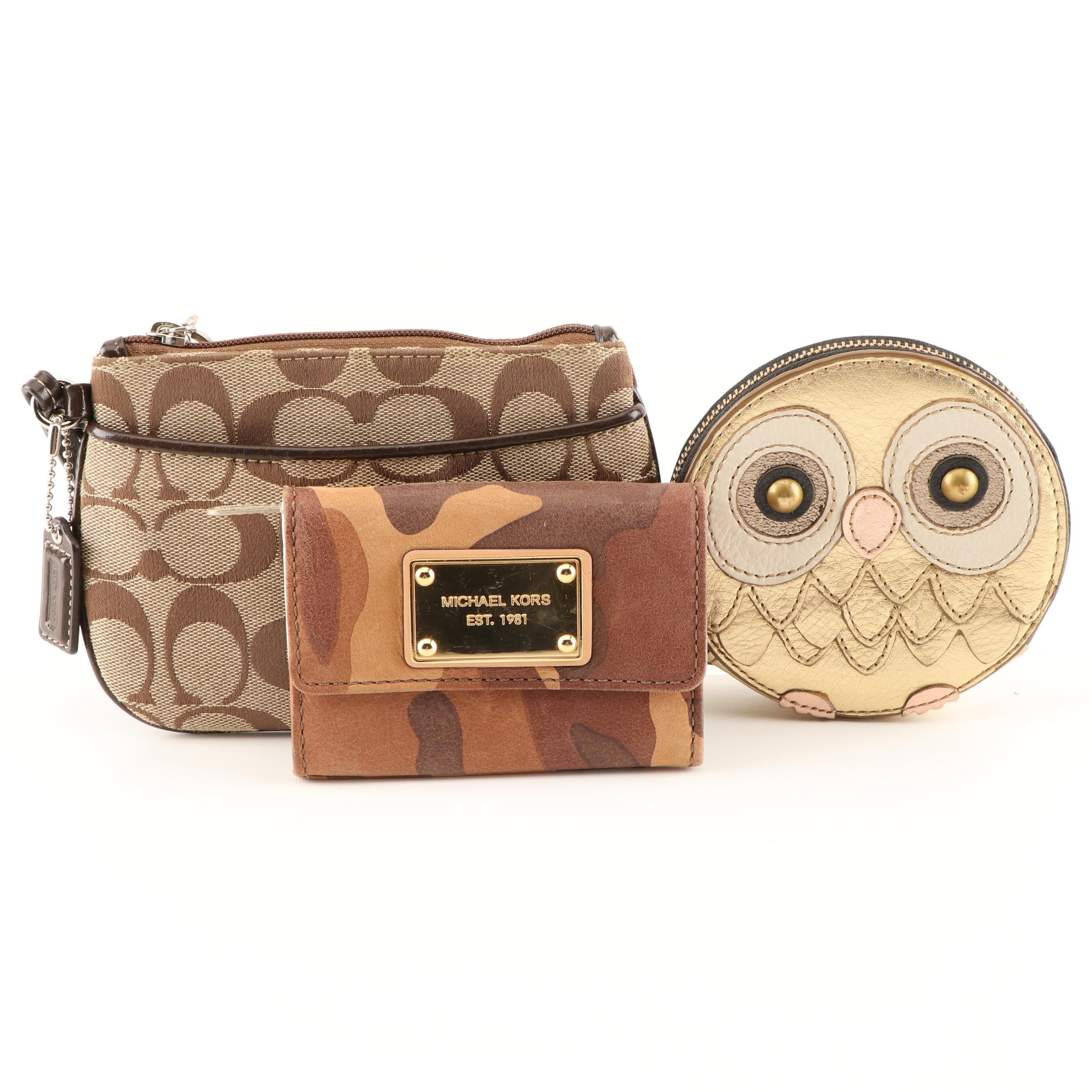 Coach Wristlet, Michael Kors Card Case and Fossil Coin Purse