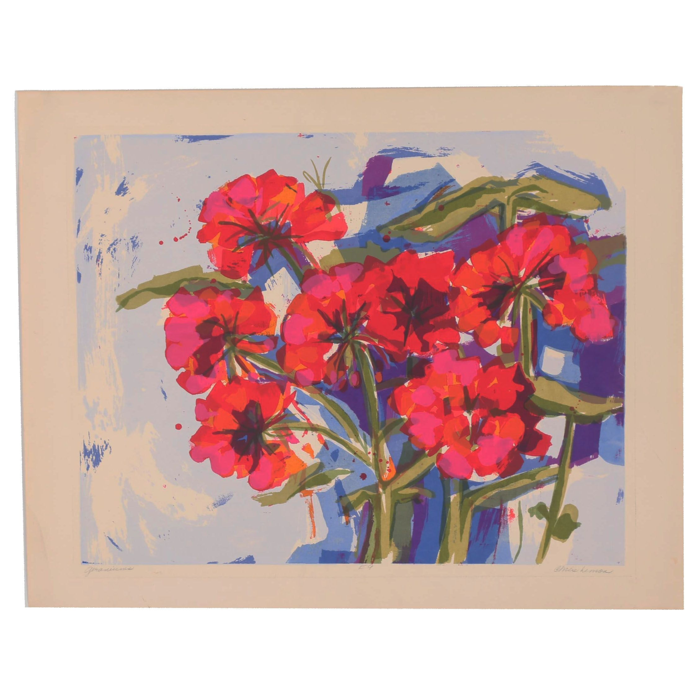 "Chris Lemon Serigraph ""Geraniums"""
