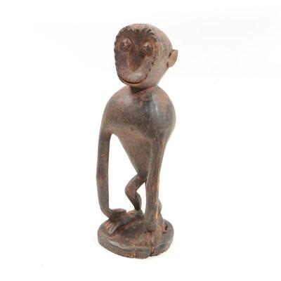 Late 20th Century Wooden Bulu Style Monkey Figure from Cameroon