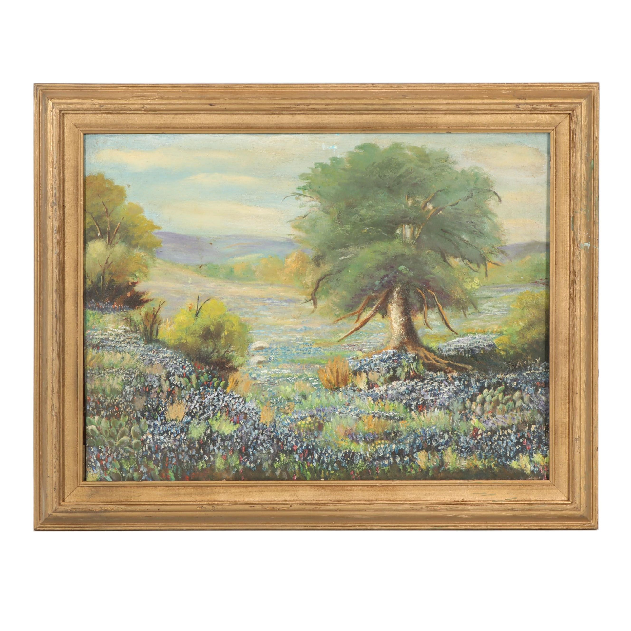 Bluebonnet Landscape Oil Painting