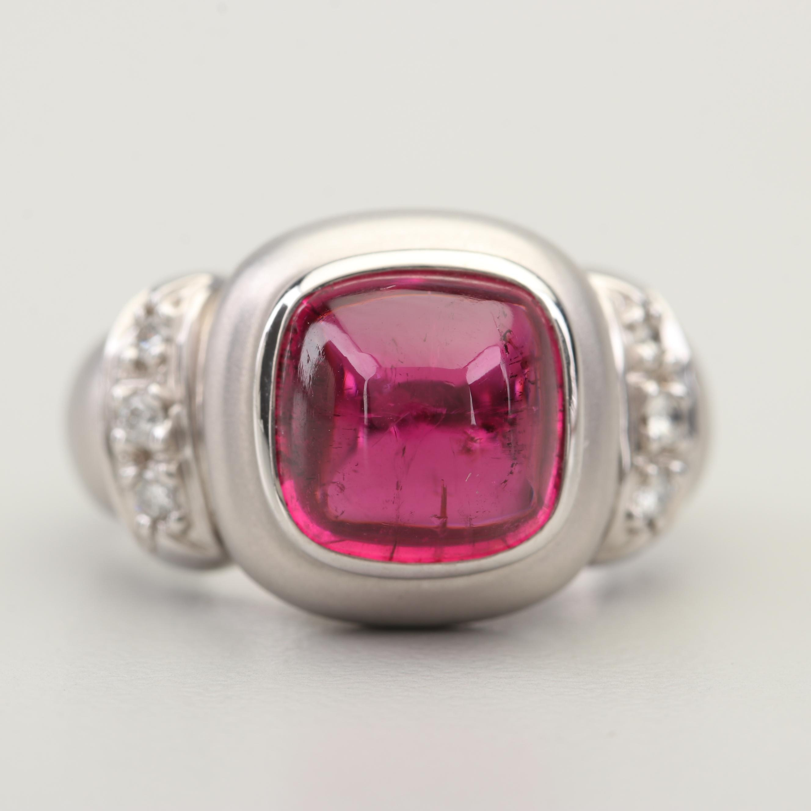 14K White Gold 3.25 CT Rubellite and Diamond Ring
