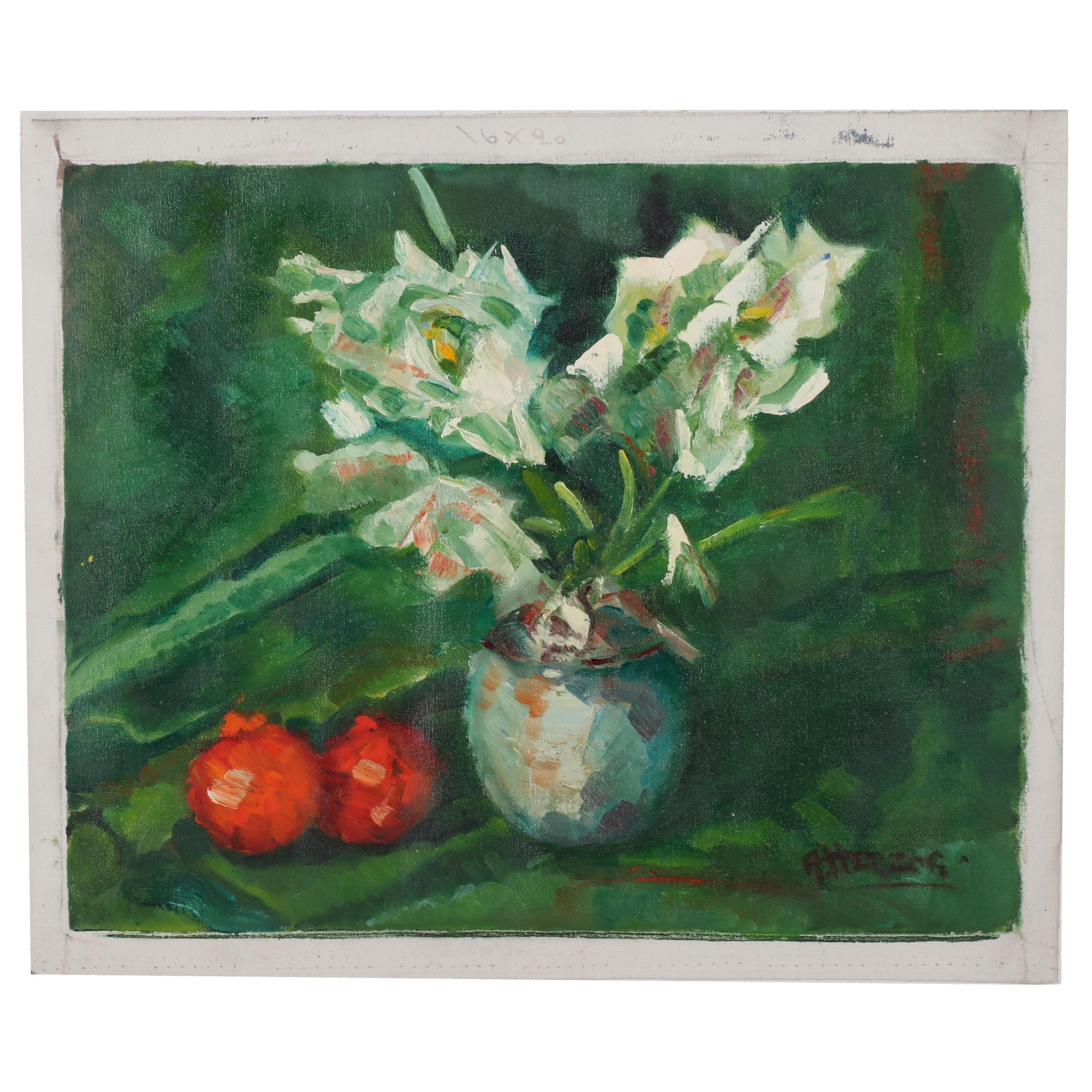 A. Herzog Floral Still Life Oil Painting