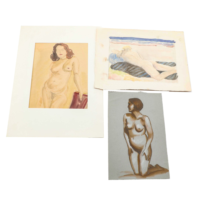 Watercolor Paintings of Female Nudes