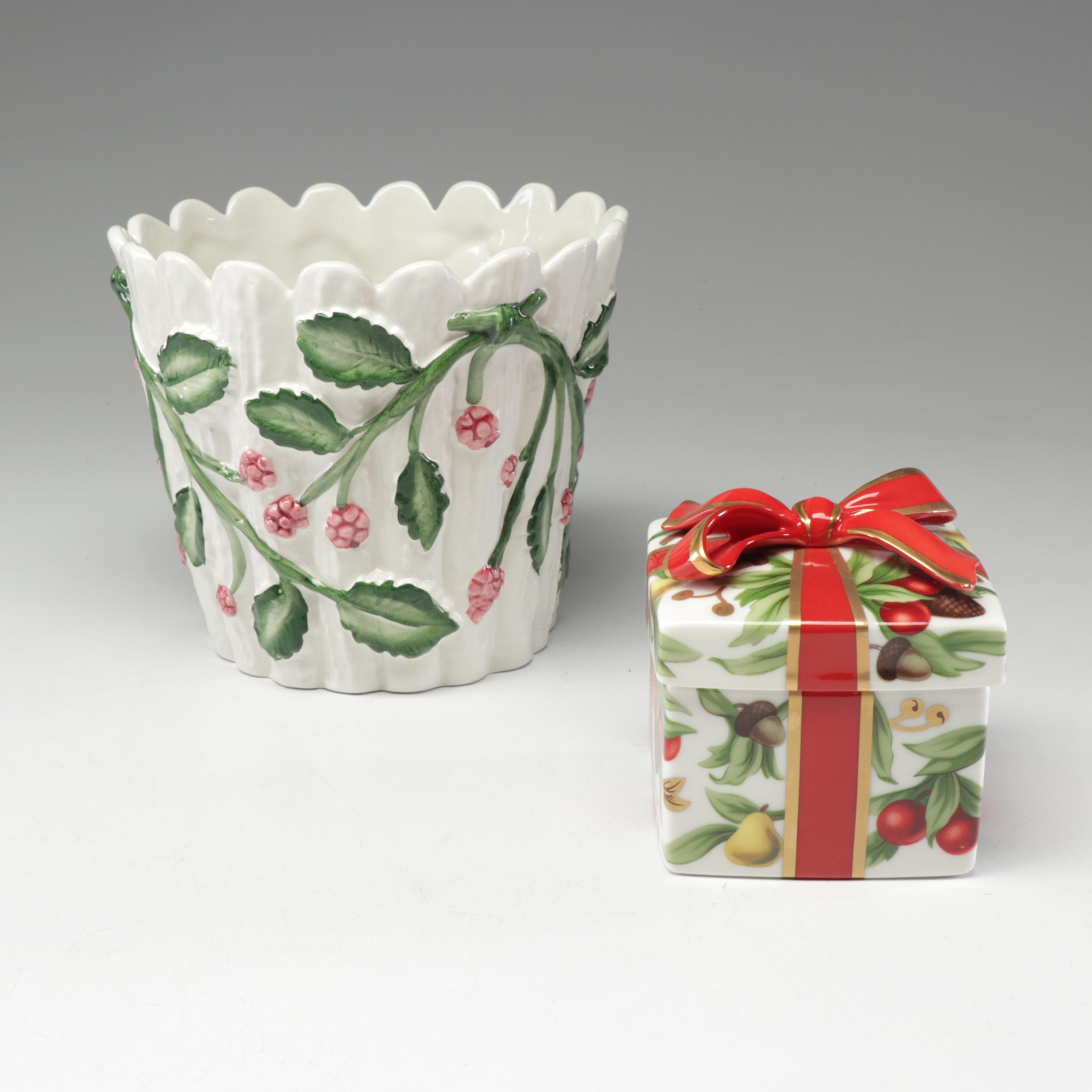 Tiffany & Co. Ceramic Planter and Holiday Box