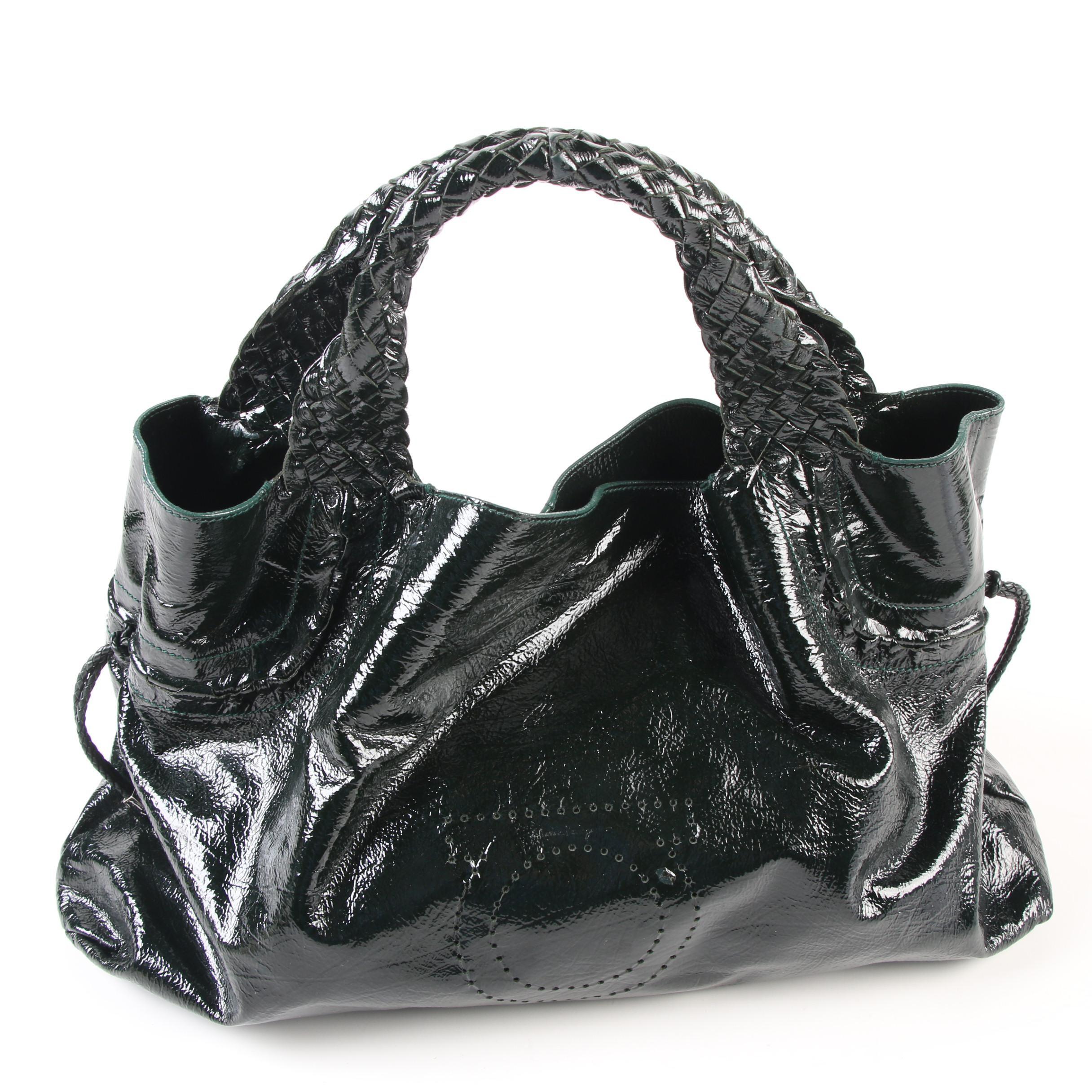 Salvatore Ferragamo Black Crinkle Patent Leather Bag with Braided Trim