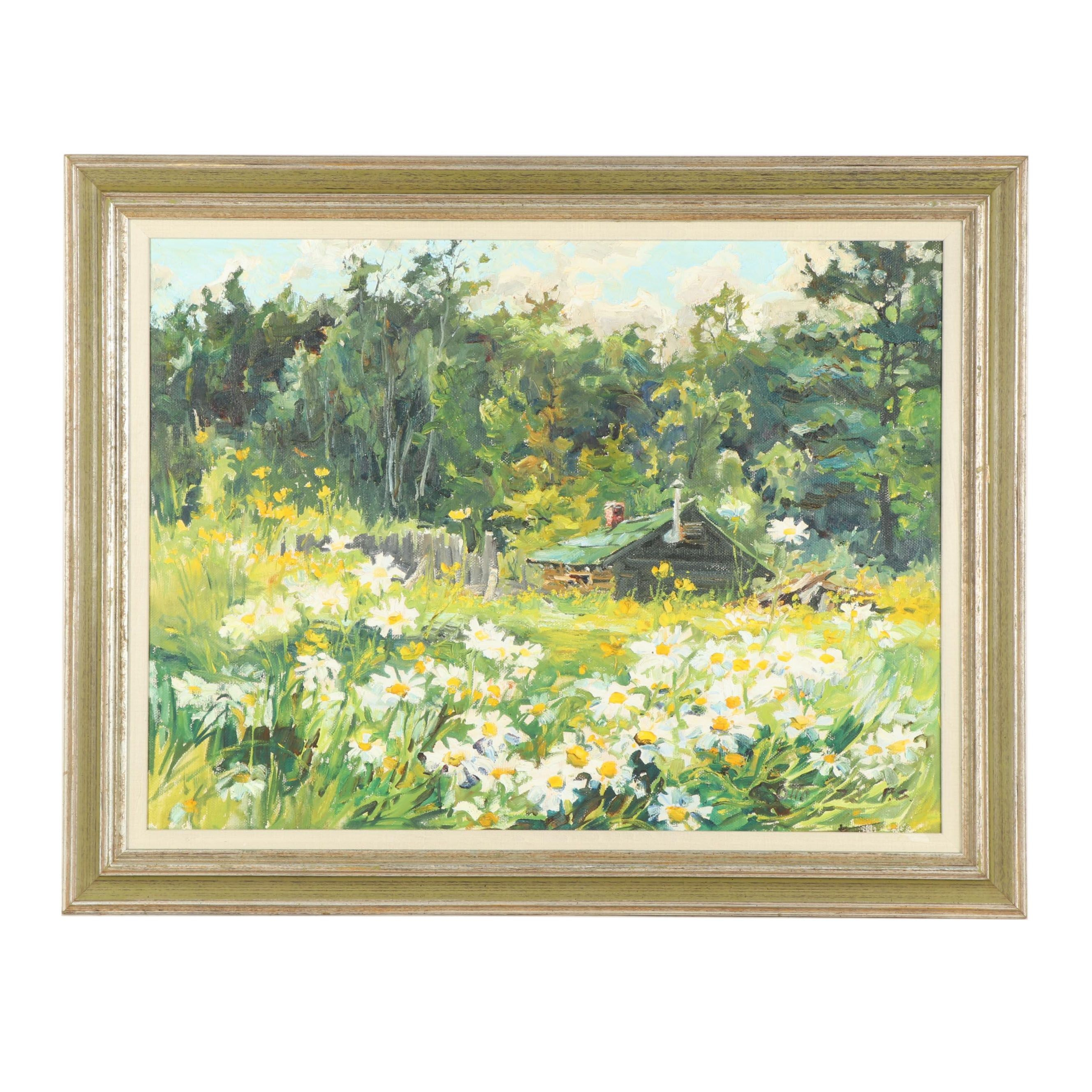 1972 Landscape with Daisies Oil Painting