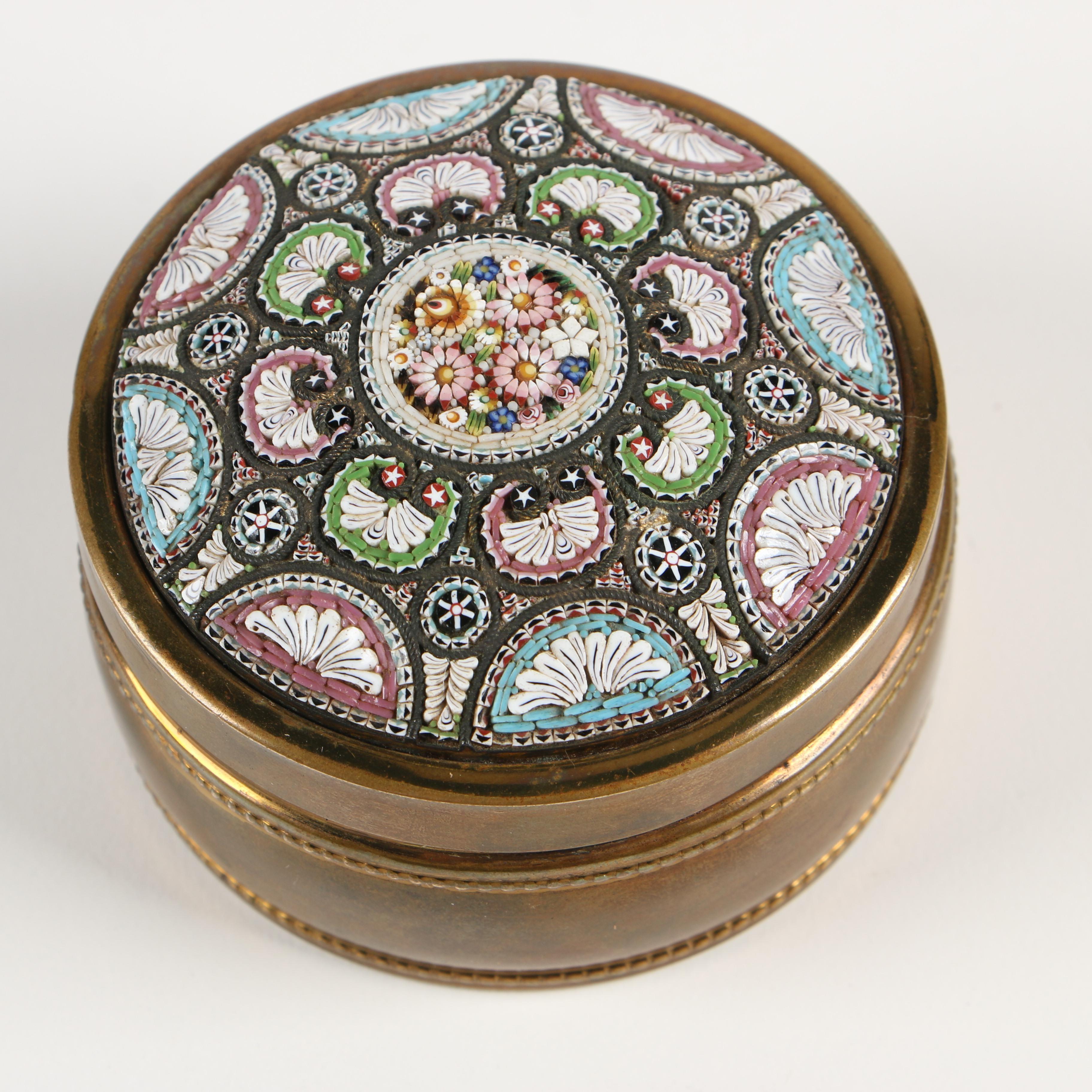 Italian Micro Mosaic Lidded Trinket Box