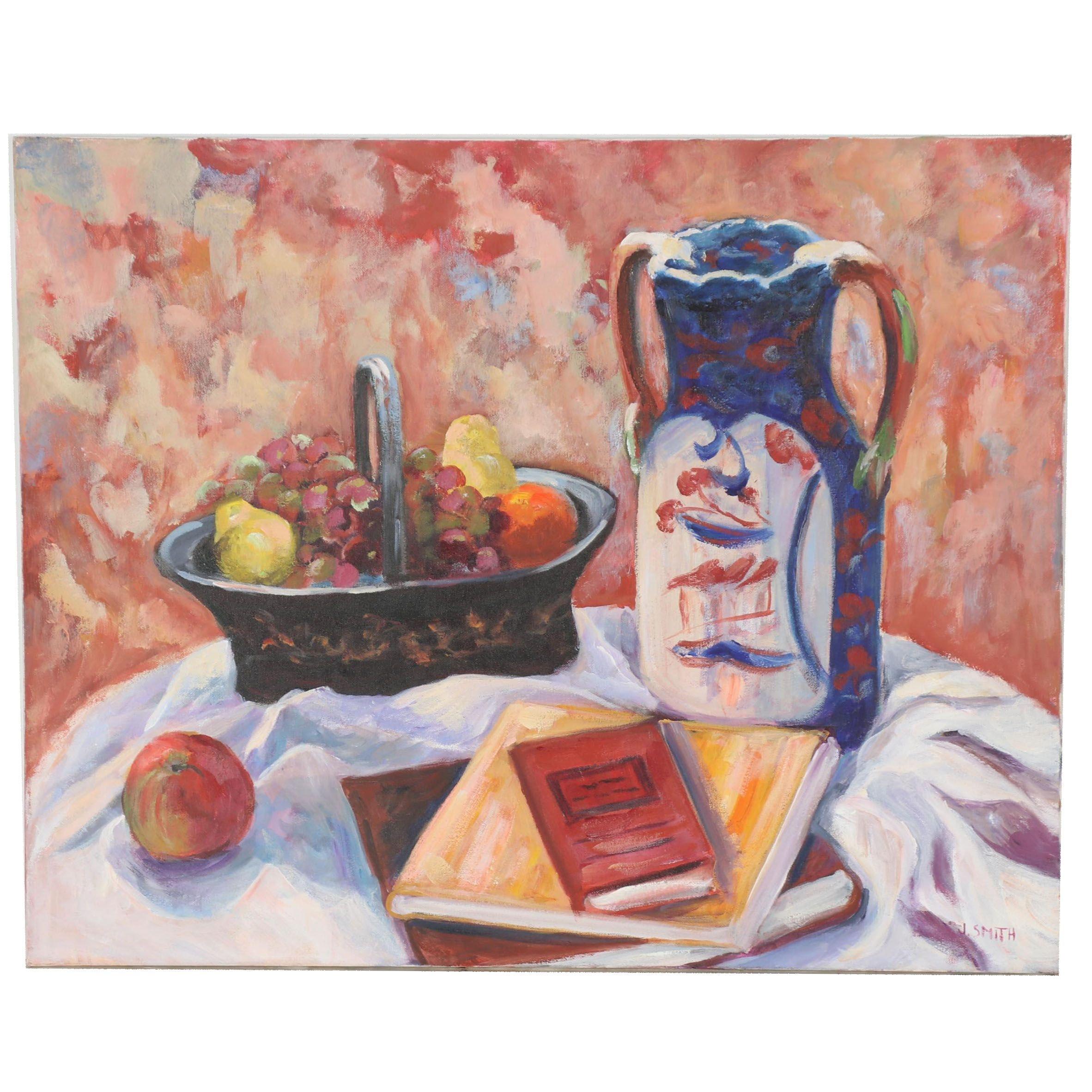 J. Smith Still Life Oil Painting