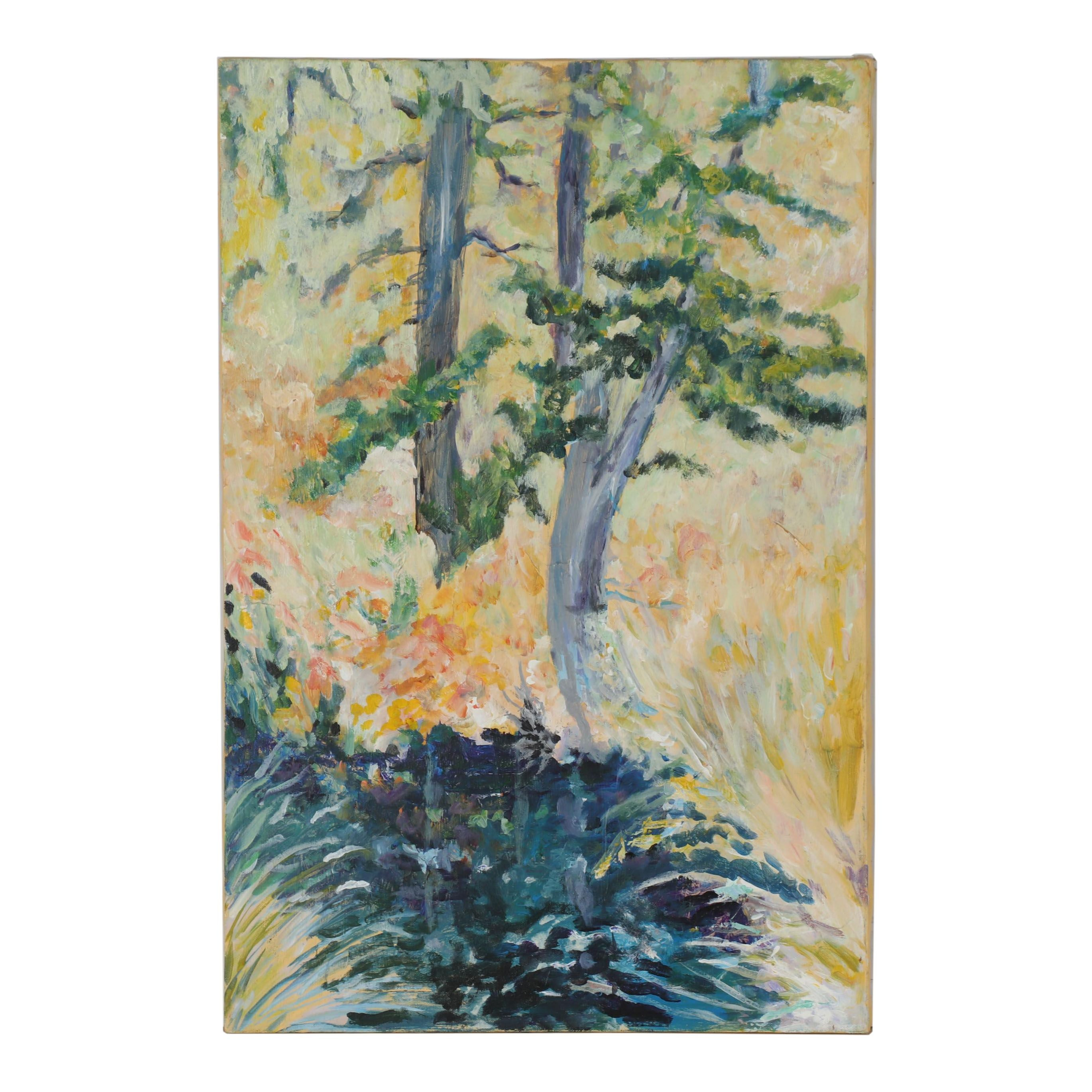 Expressionist Style Oil Painting of Trees