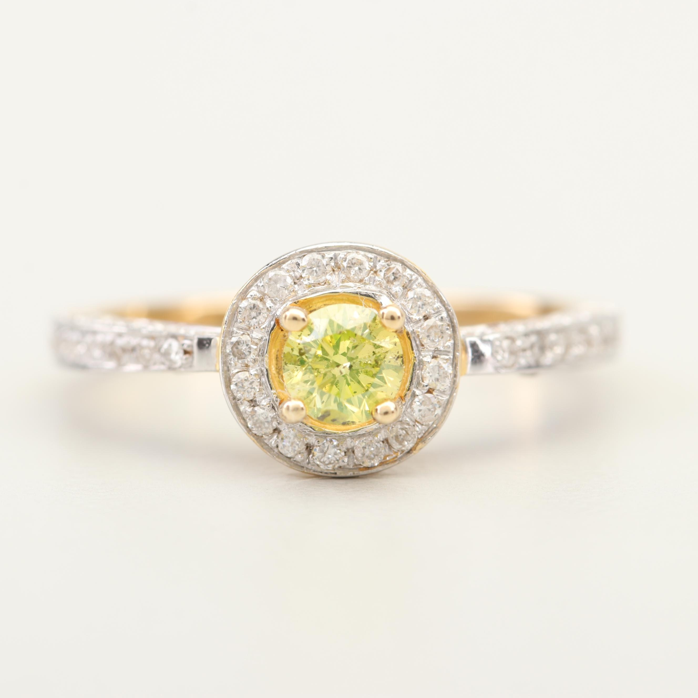 14K Yellow Gold Greenish Yellow Diamond and Diamond Ring