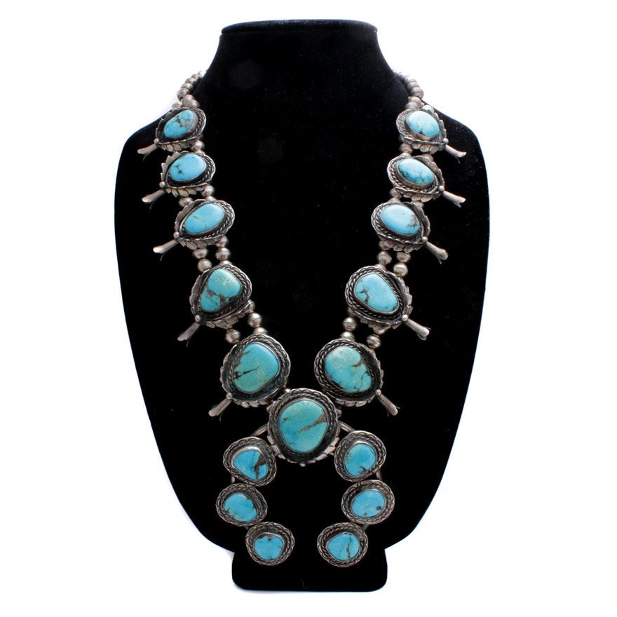 Sterling Silver and Dyed Turquoise Squash Blossom Necklace