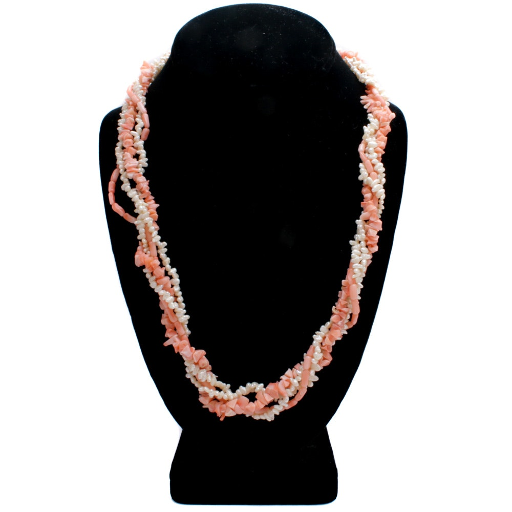 Dyed Coral and Freshwater Pearl Necklace with Gold Wash Over 800 Silver Clasp
