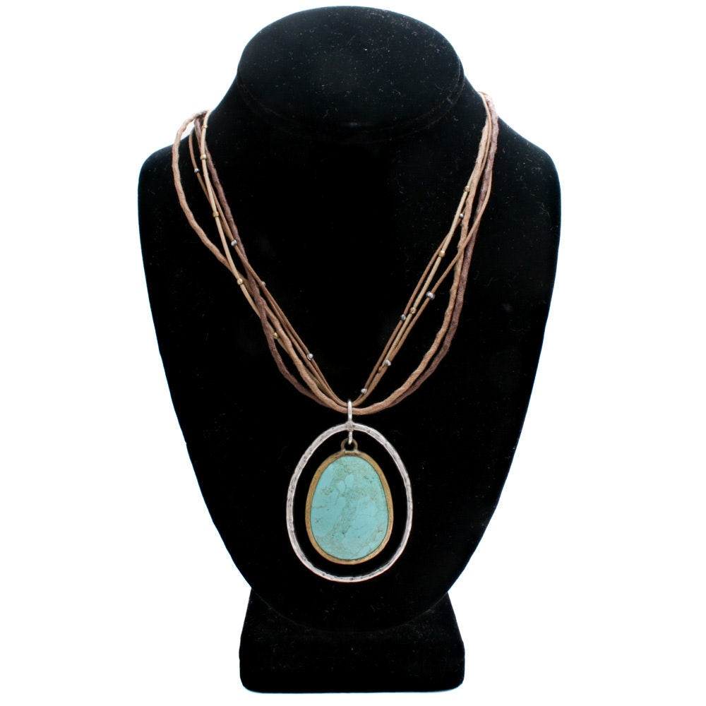 Silpada Sterling Silver, Brass and Dyed Howlite Necklace