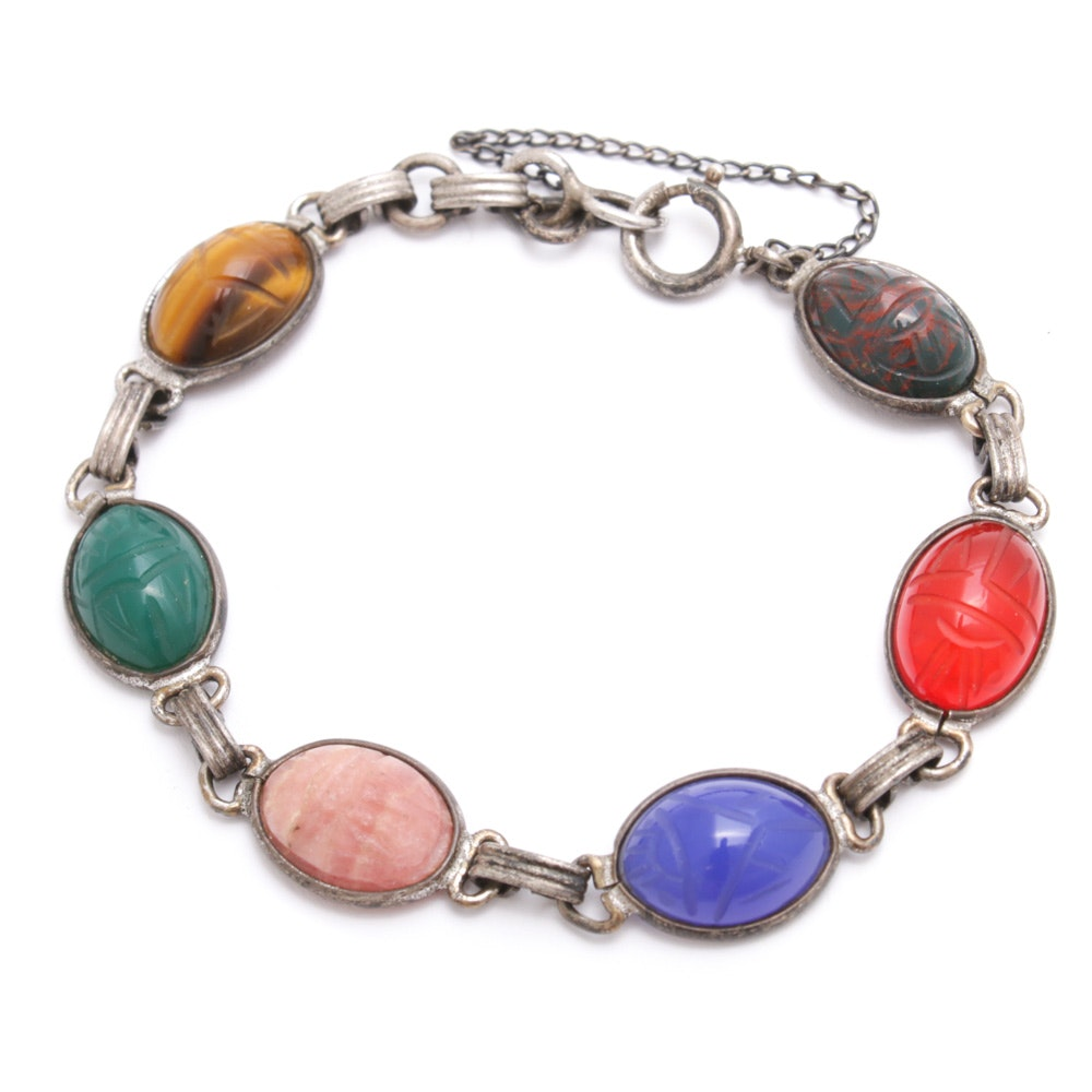 Sterling Silver Scarab Bracelet Including Bloodstone and Tiger's Eye, Vintage