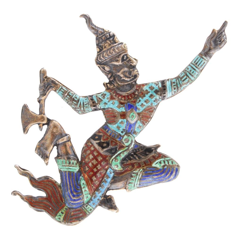 Enameled Sterling Silver Thai Dancer Brooch, Mid 20th Century