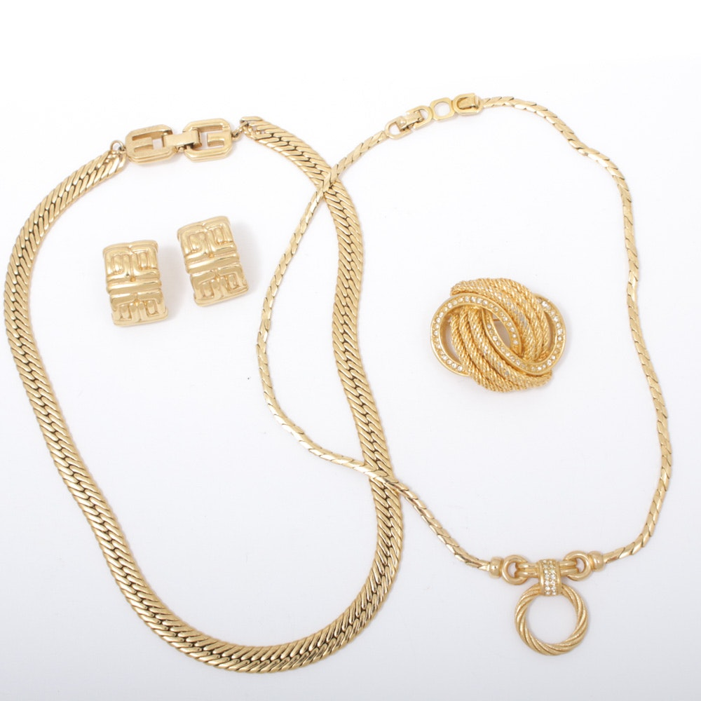 Givenchy and Christian Dior Gold Tone Jewelry