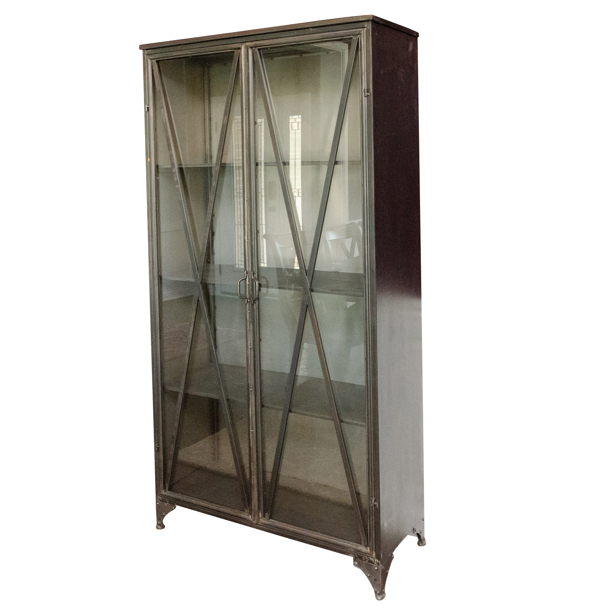 Mercana Metal and Glass Industrial Style Display Cabinets