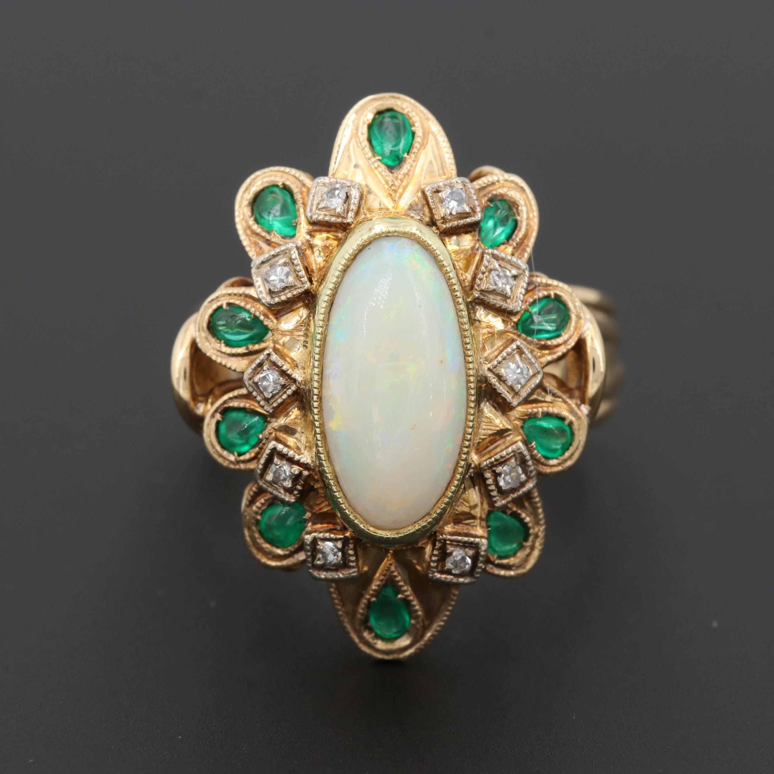 Vintage 14K Yellow Gold Opal, Emerald and Diamond Ring