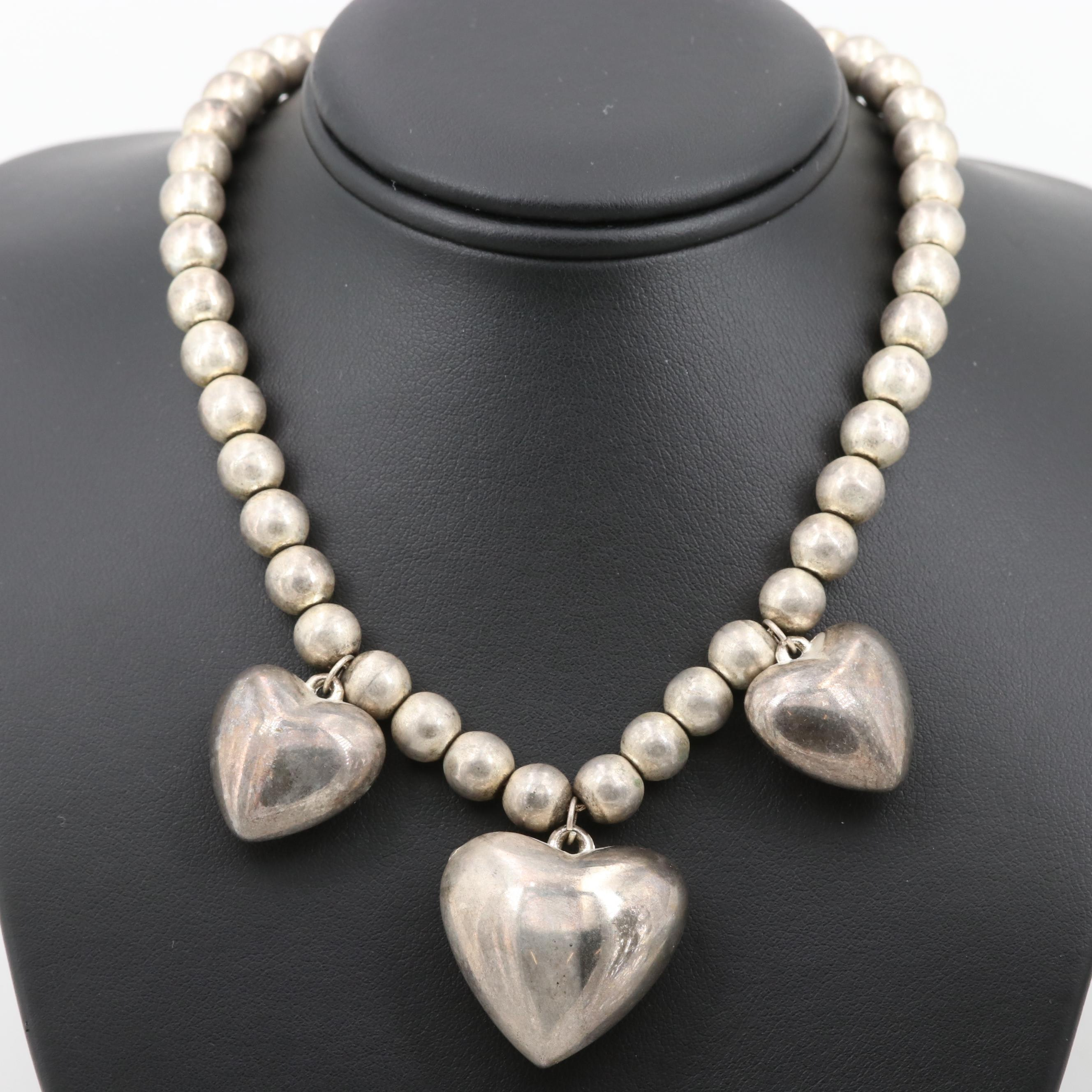 Silver Tone Heart Beaded Necklace