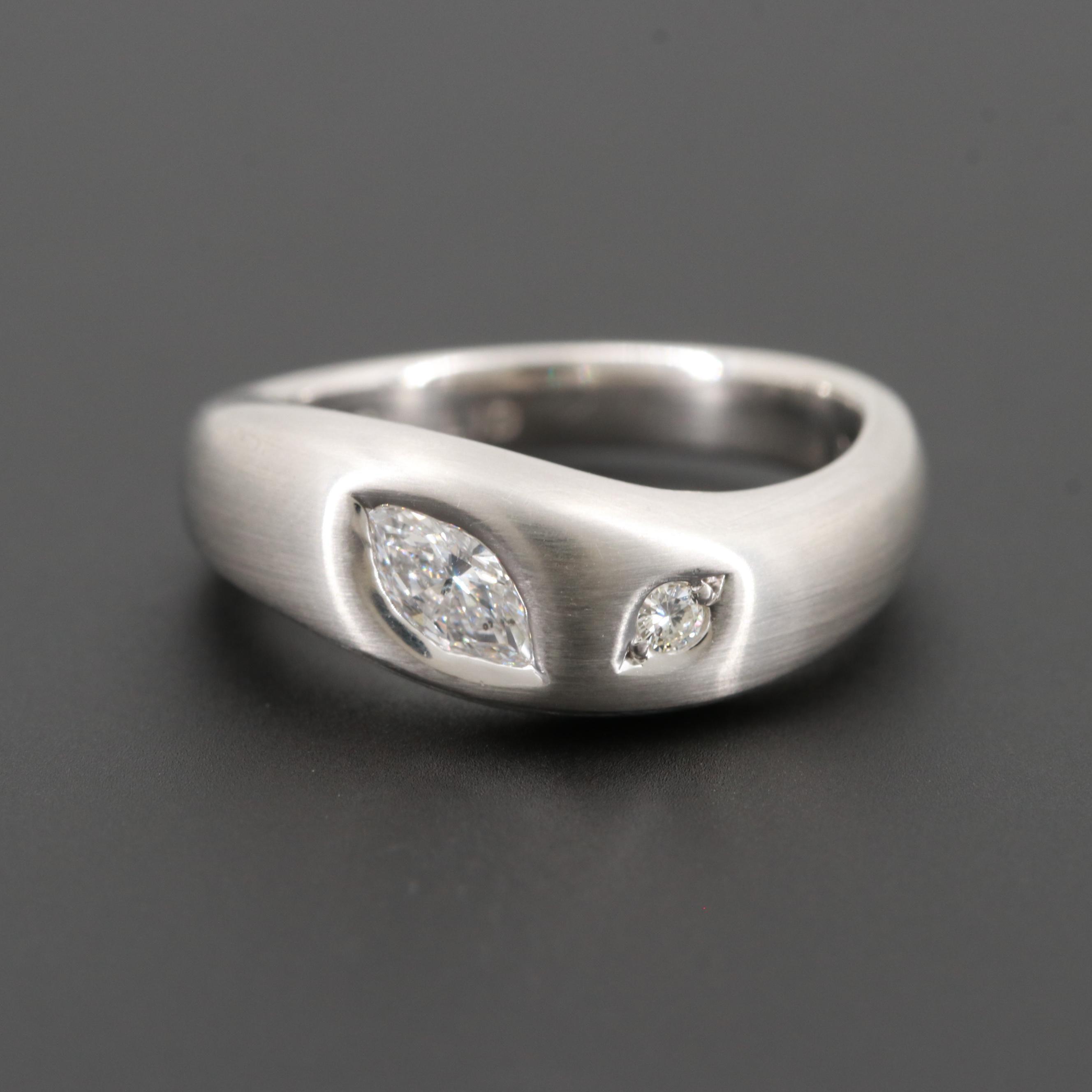 Platinum Diamond Contoured Ring with Satin Finish