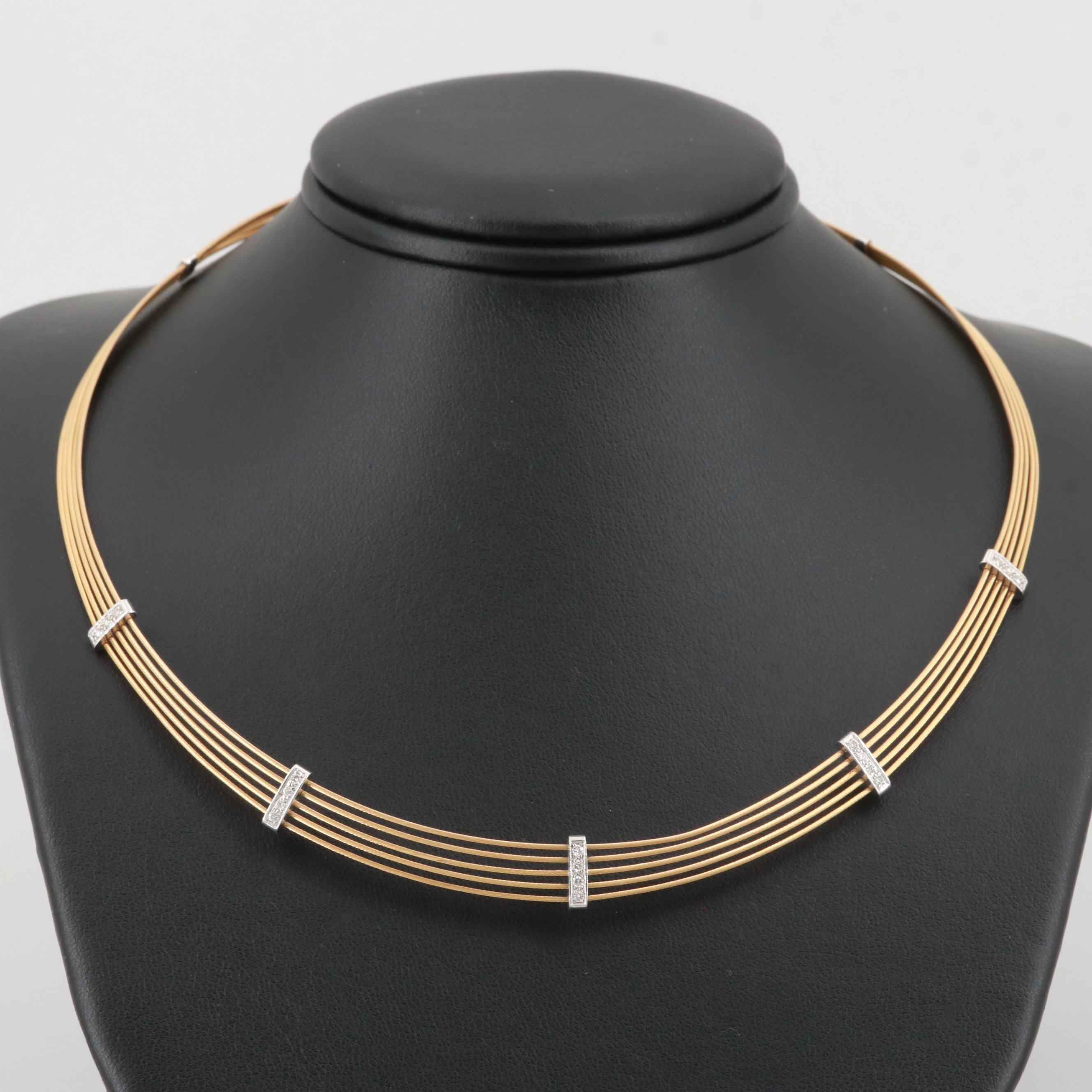 18K Yellow Gold Diamond Coil Necklace with White Gold Accents