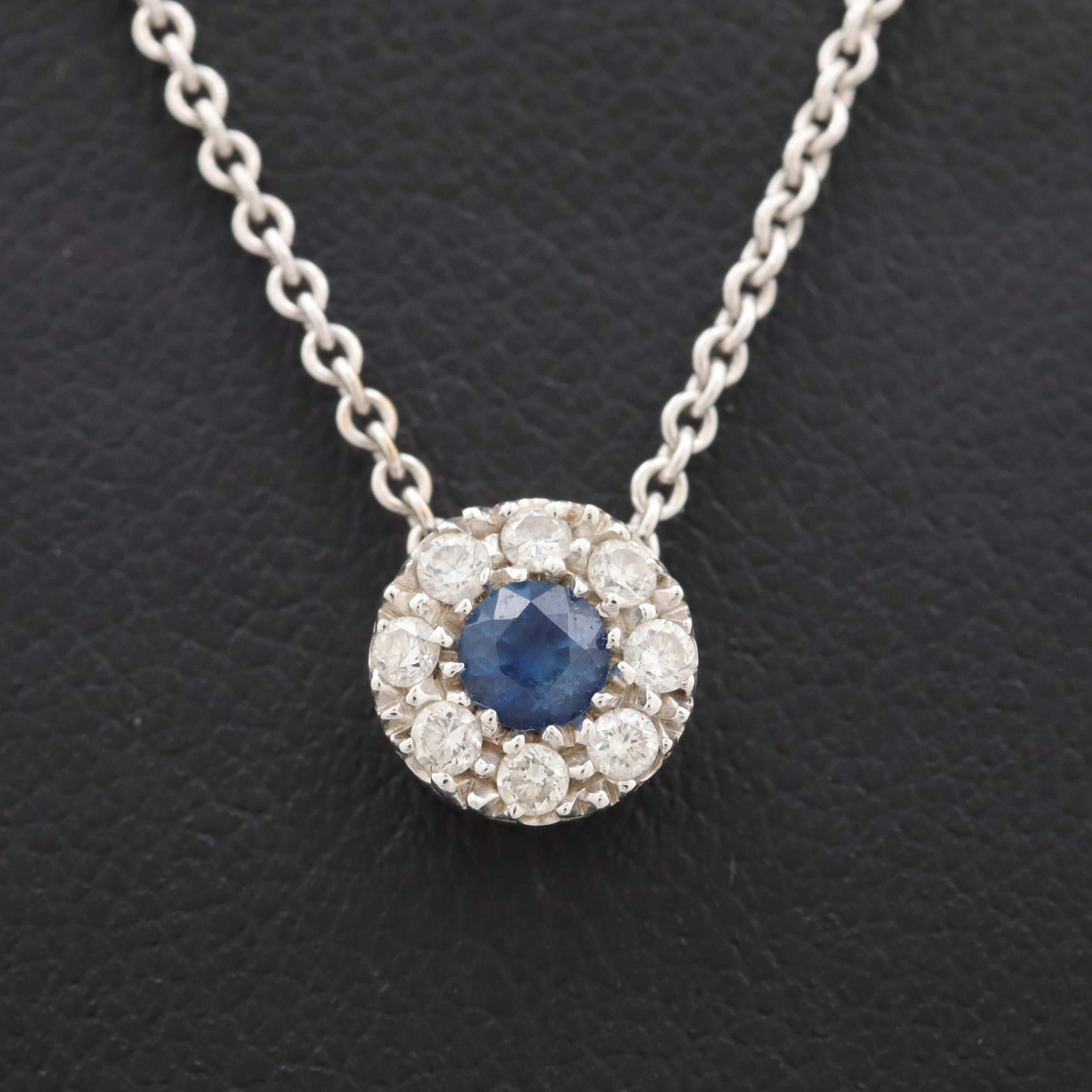 18K White Gold Blue Sapphire and Diamond Adjustable Necklace