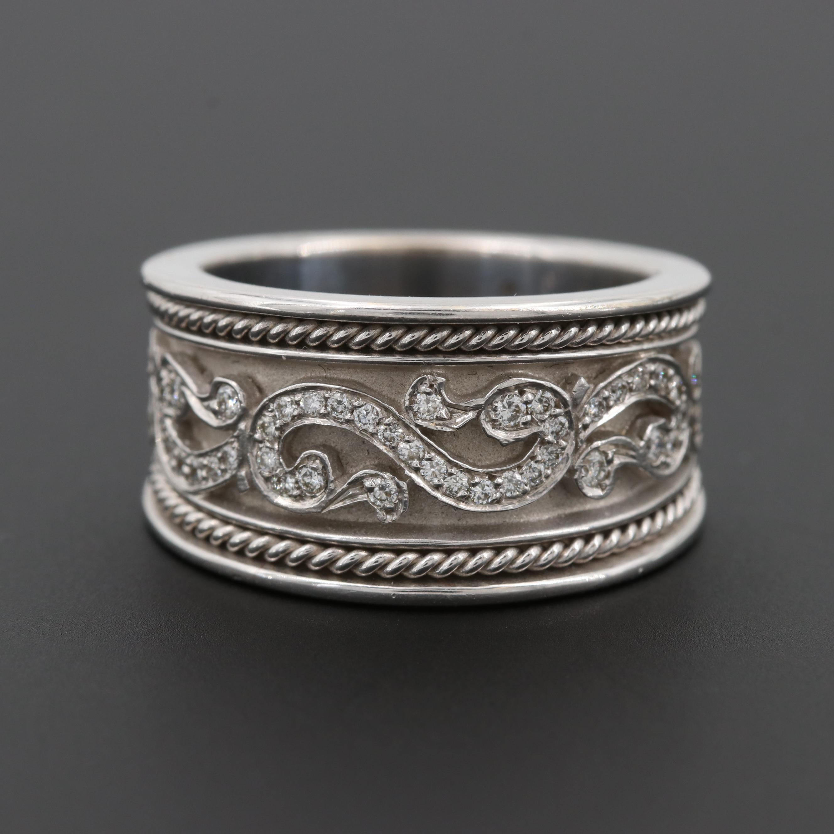 18K White Gold Diamond Tapered Band with Scroll Work and Twisted Wire