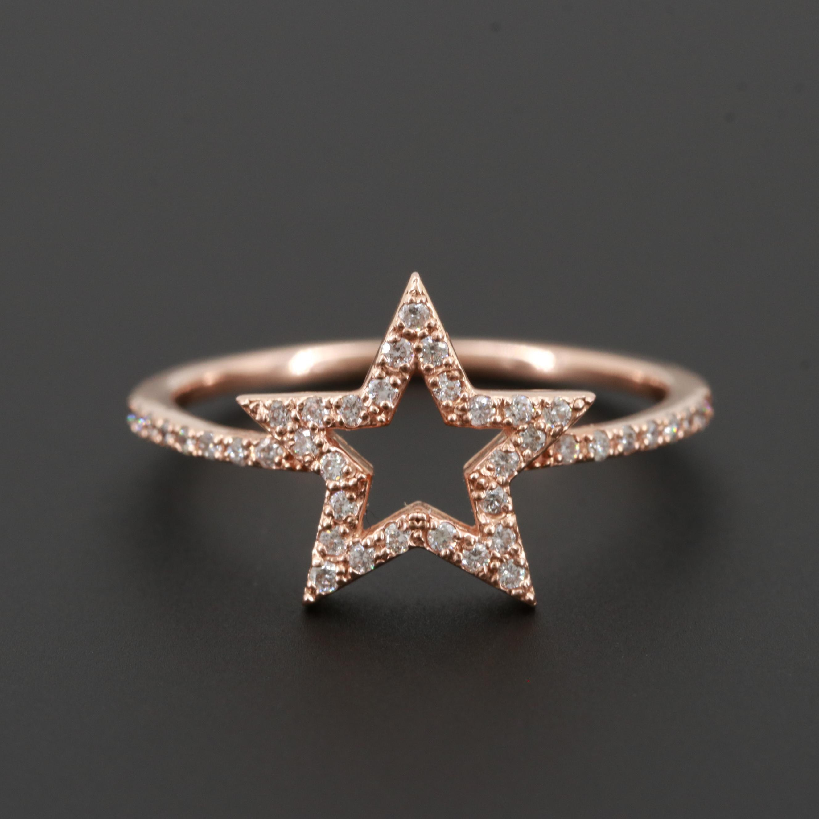 14K Rose Gold Pavé Diamond Star Ring