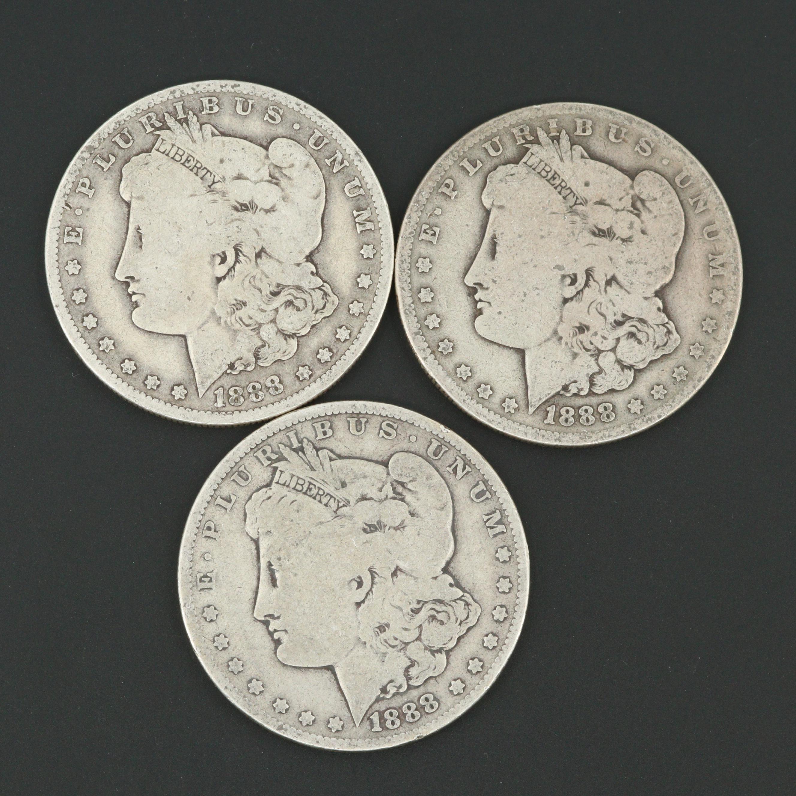 Three 1888-O Morgan Silver Dollars