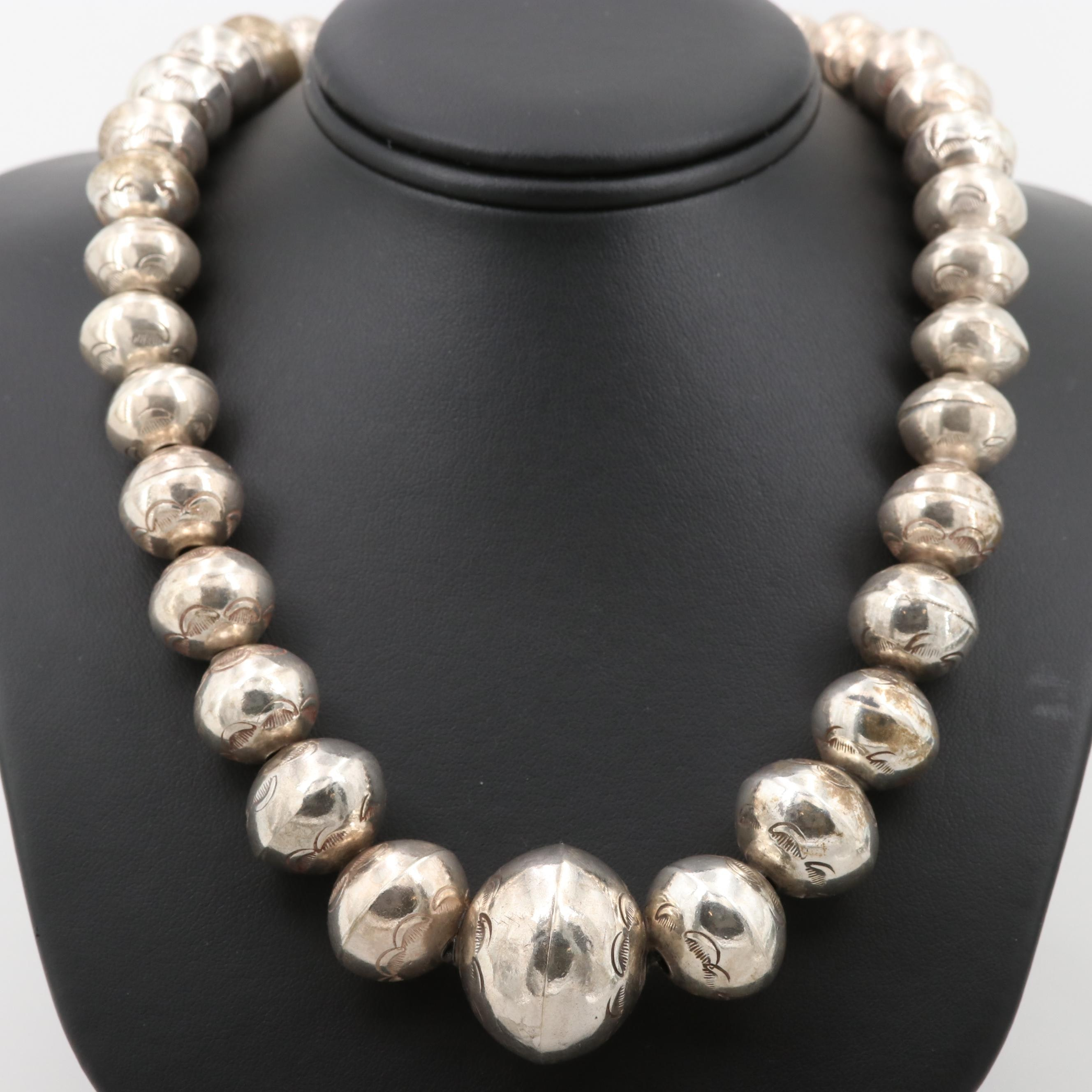 Southwestern Style Sterling Silver Graduated Stamp Work Bead Necklace
