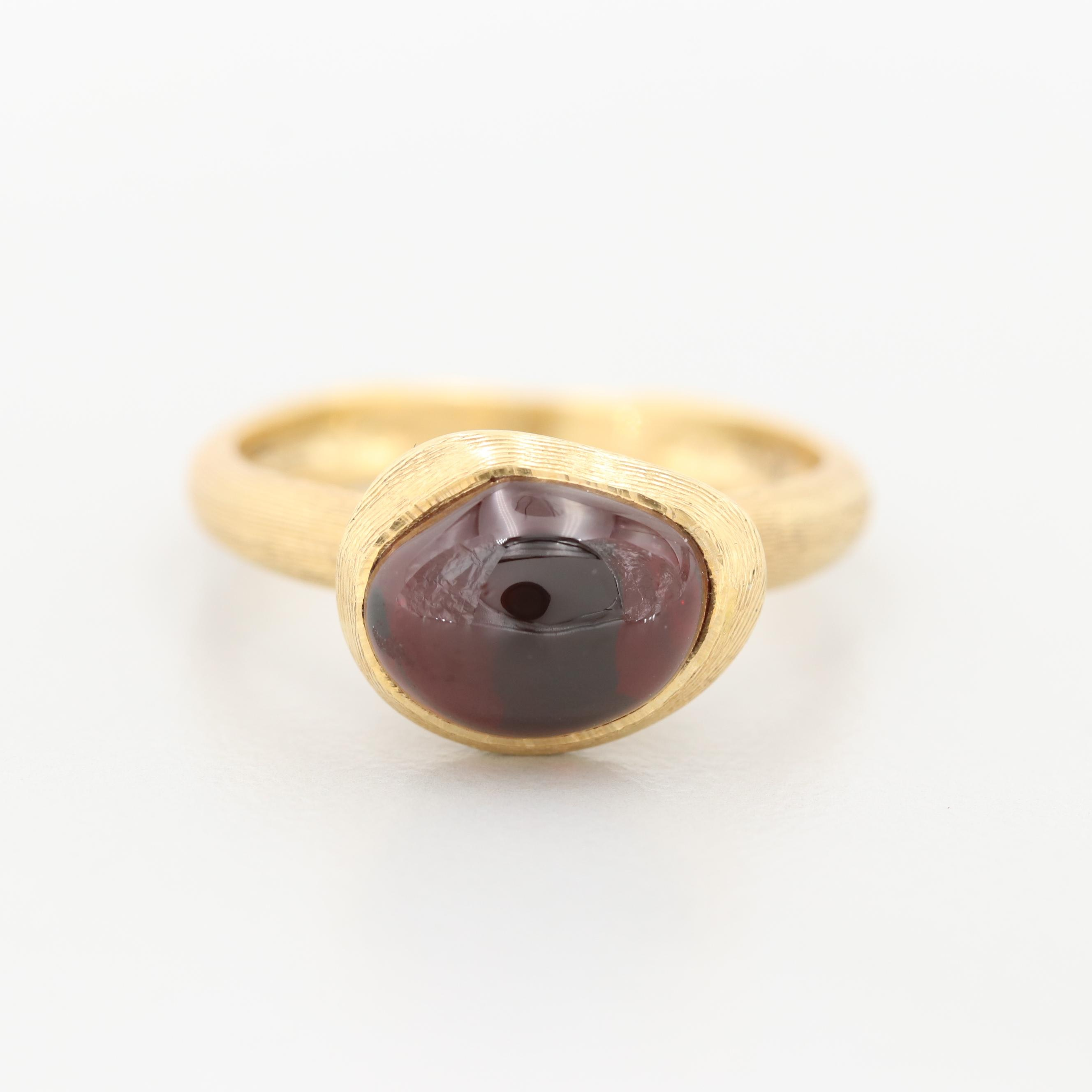 Marco Bicego 18K Yellow Gold Garnet Ring with Brushed Finish