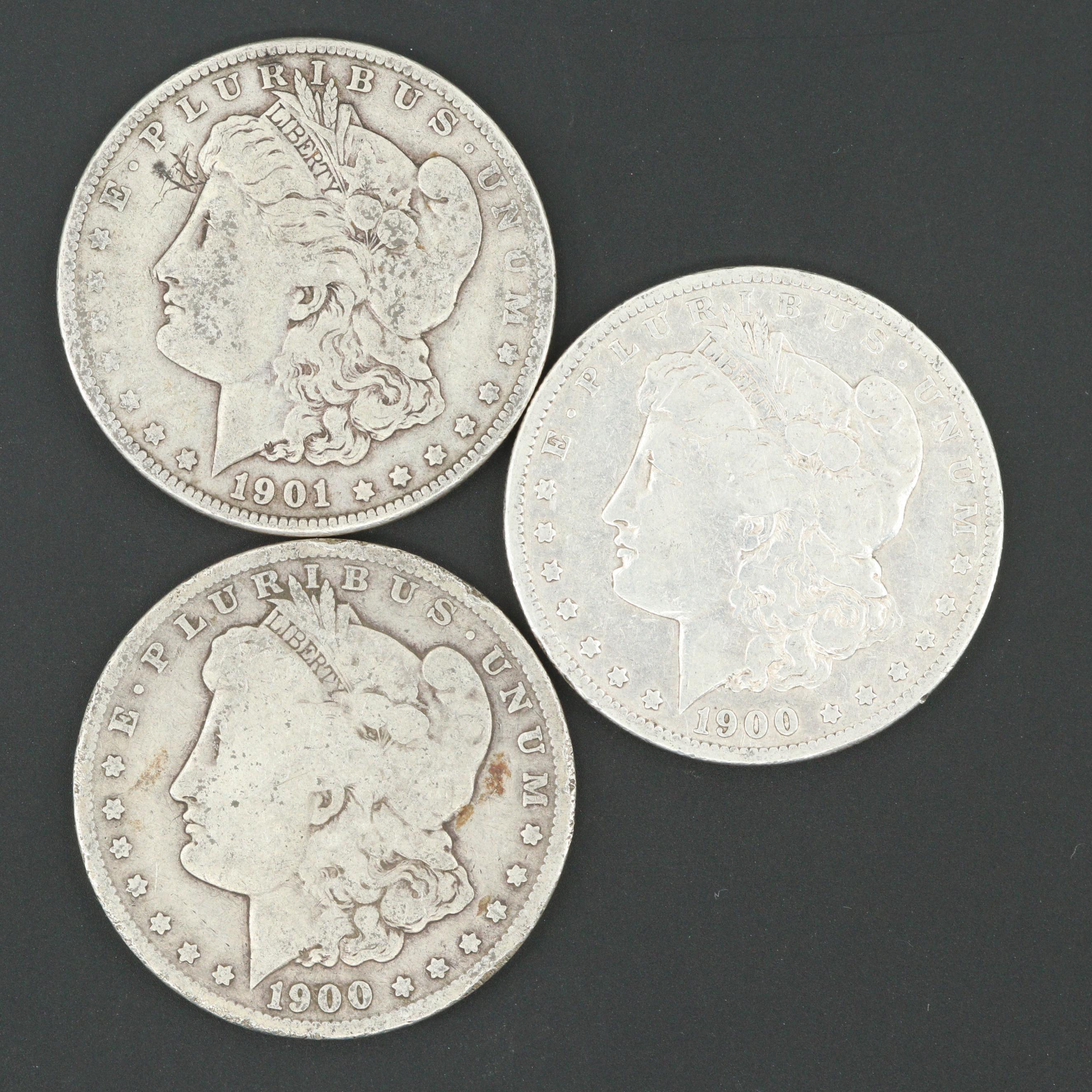 1901-O and Two 1900-O Morgan Silver Dollars
