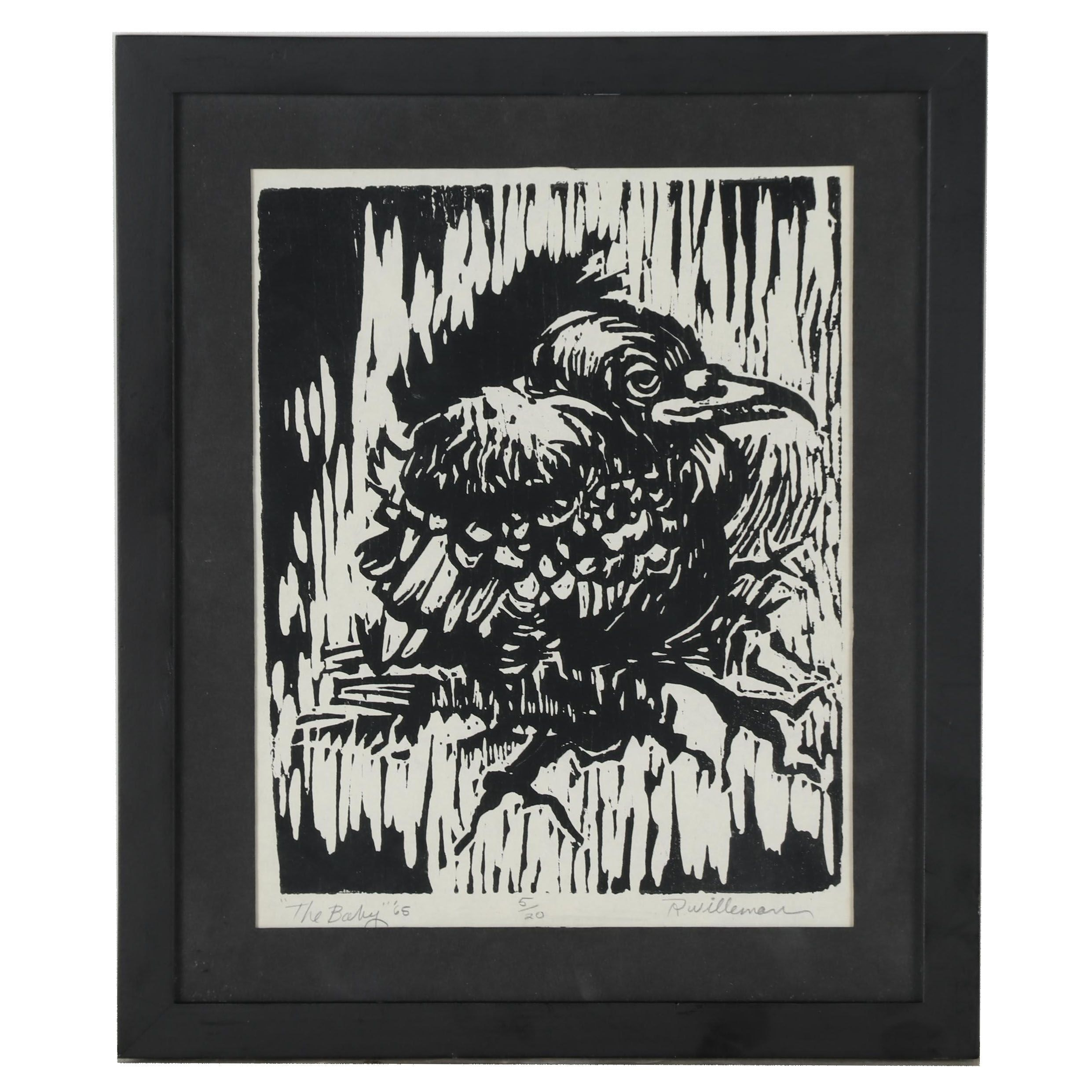 """R. Willeman 1965 Woodblock """"The Baby"""""""