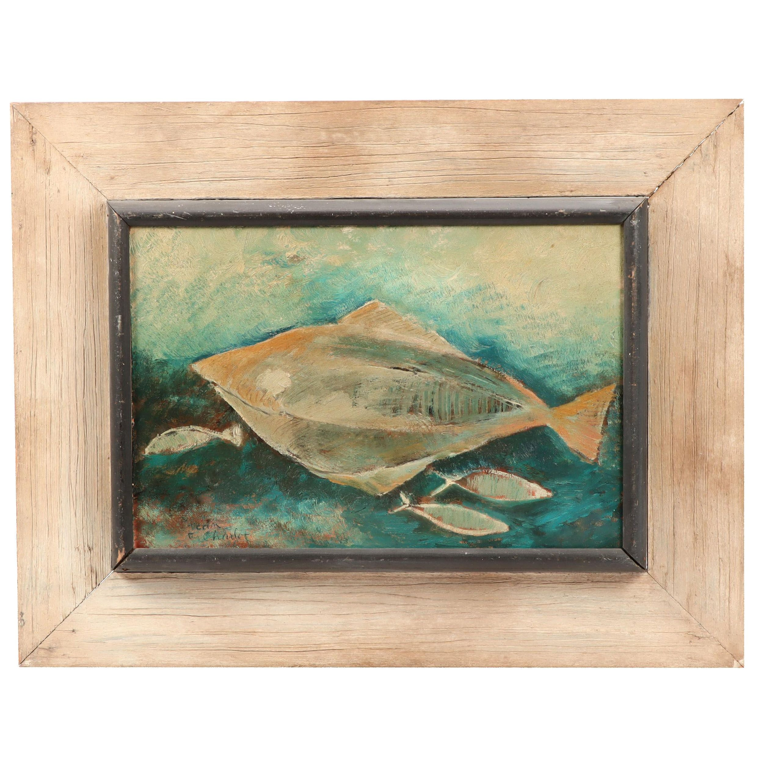Jean Charlot Oil Painting of Fish