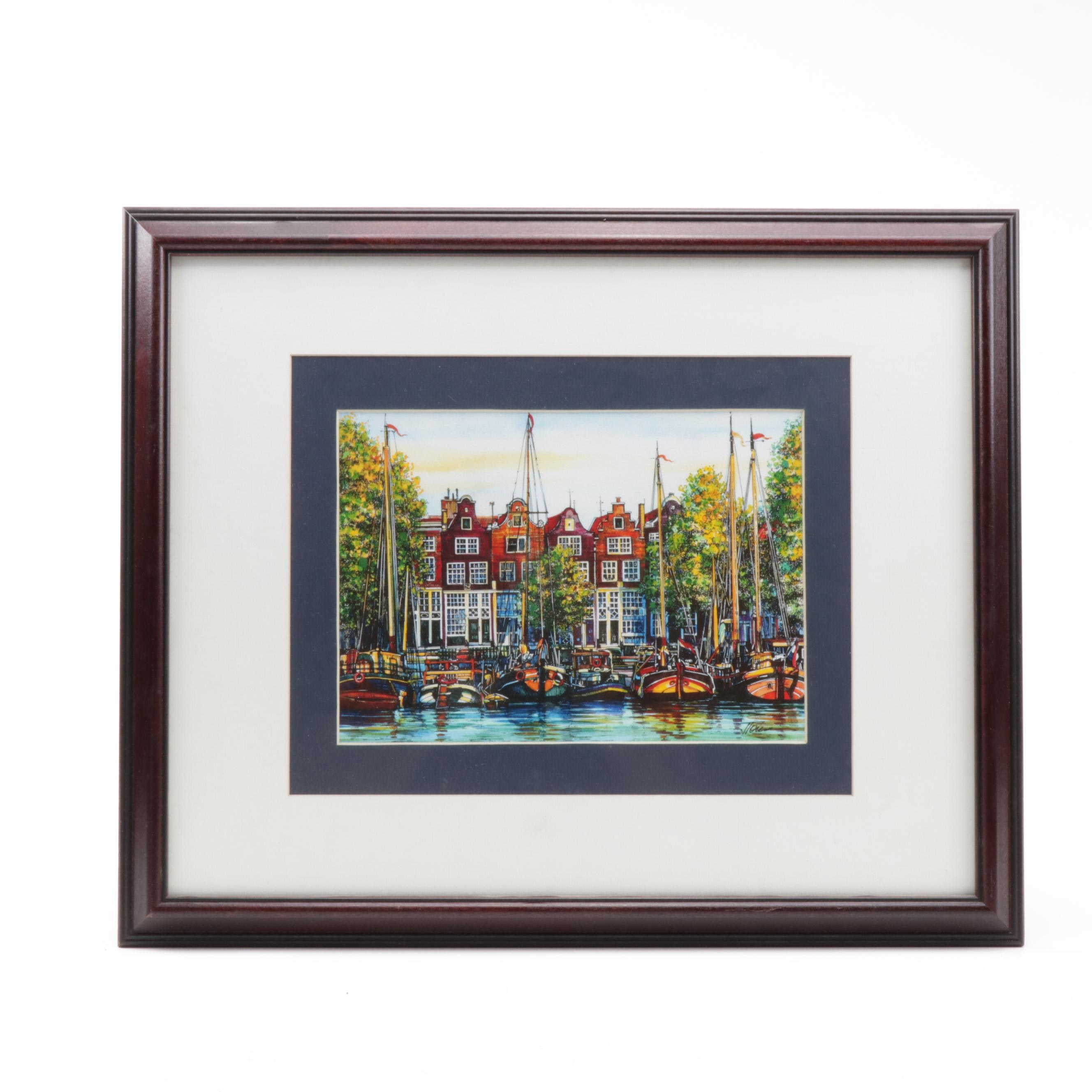Ink and Watercolor Painting of Amsterdam