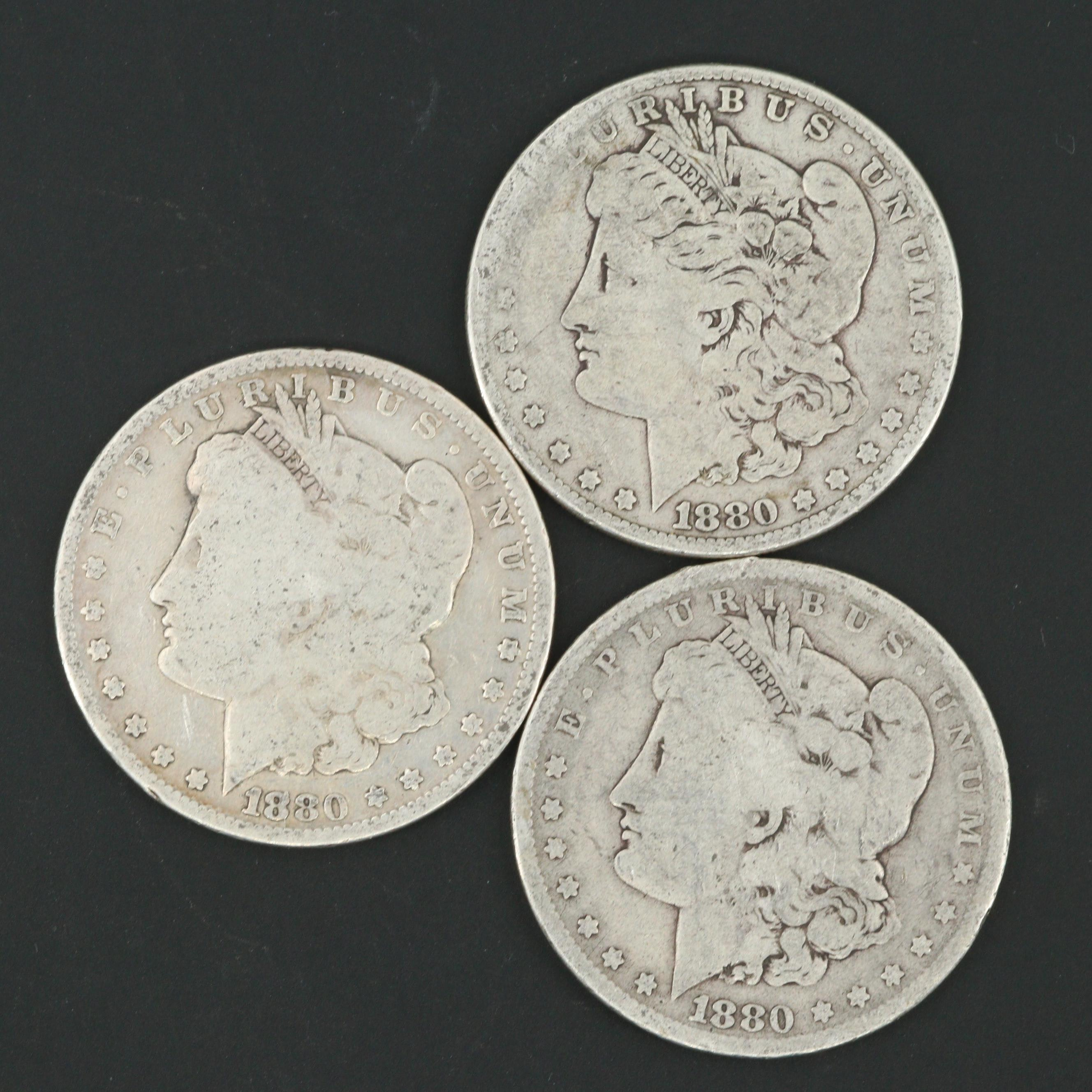 1880-O and Two 1880 Morgan Silver Dollars