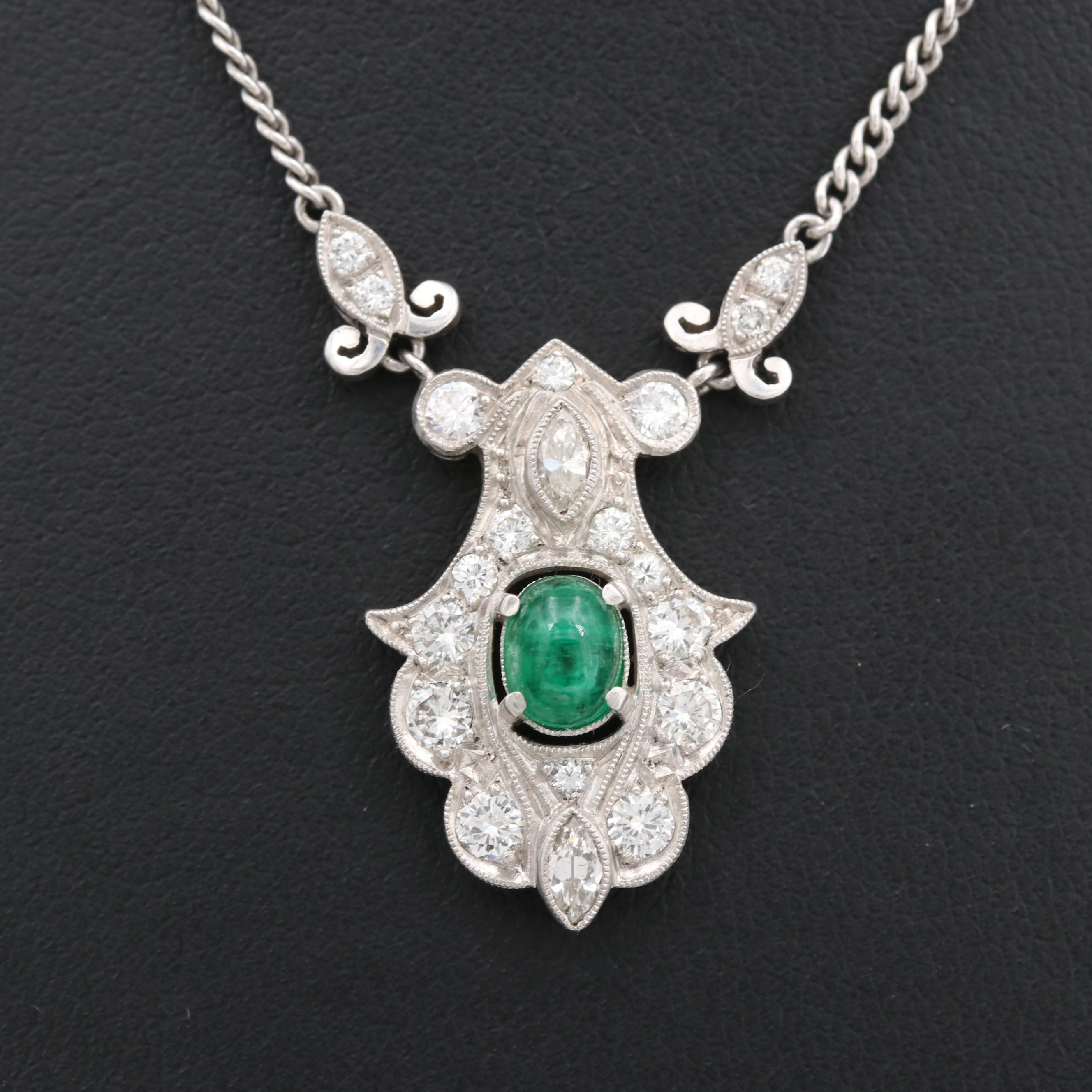 Art Deco Platinum Emerald and Diamond Pendant on 10K White Gold Chain